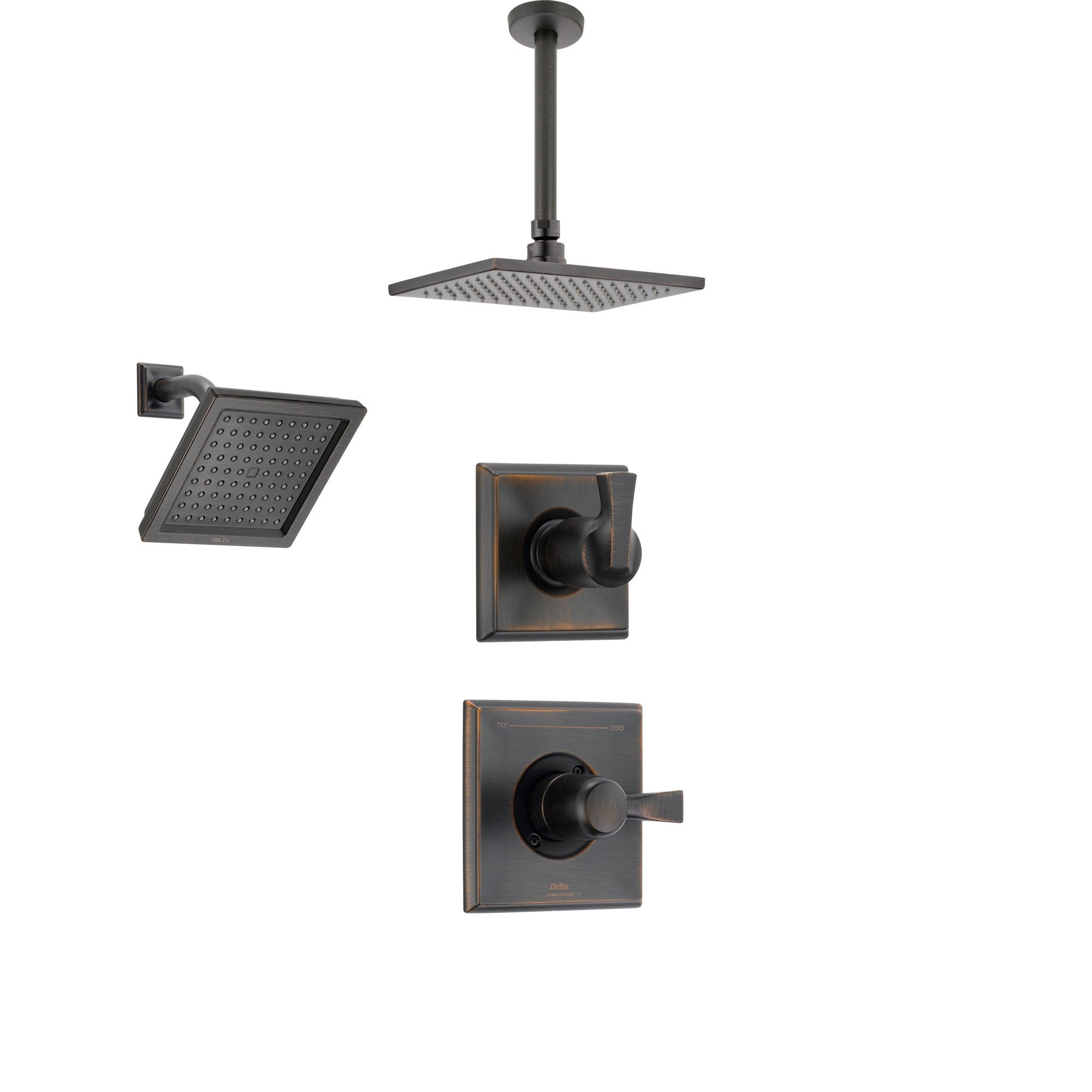 Delta Dryden Venetian Bronze Shower System with Normal Shower Handle, 3-setting Diverter, Large Square Modern Ceiling Mount Showerhead, and Wall Mount Showerhead SS145184RB