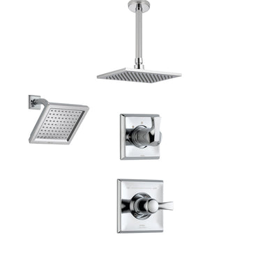 Delta Dryden Chrome Shower System with Normal Shower Handle, 3-setting Diverter, Large Square Ceiling Mount Showerhead, and Wall Mount Showerhead SS145184