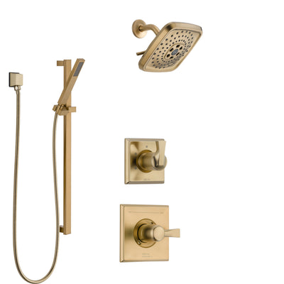 Delta Dryden Champagne Bronze Finish Shower System with Control Handle, 3-Setting Diverter, Showerhead, and Hand Shower with Slidebar SS1451CZ5
