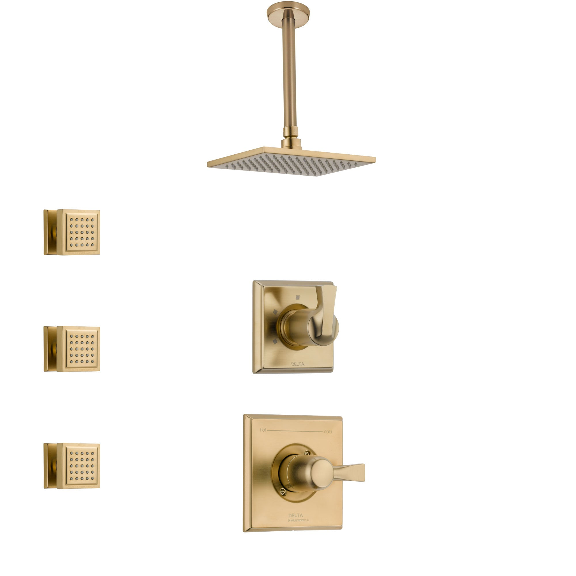 Delta Dryden Champagne Bronze Finish Shower System with Control Handle, 3-Setting Diverter, Ceiling Mount Showerhead, and 3 Body Sprays SS1451CZ7