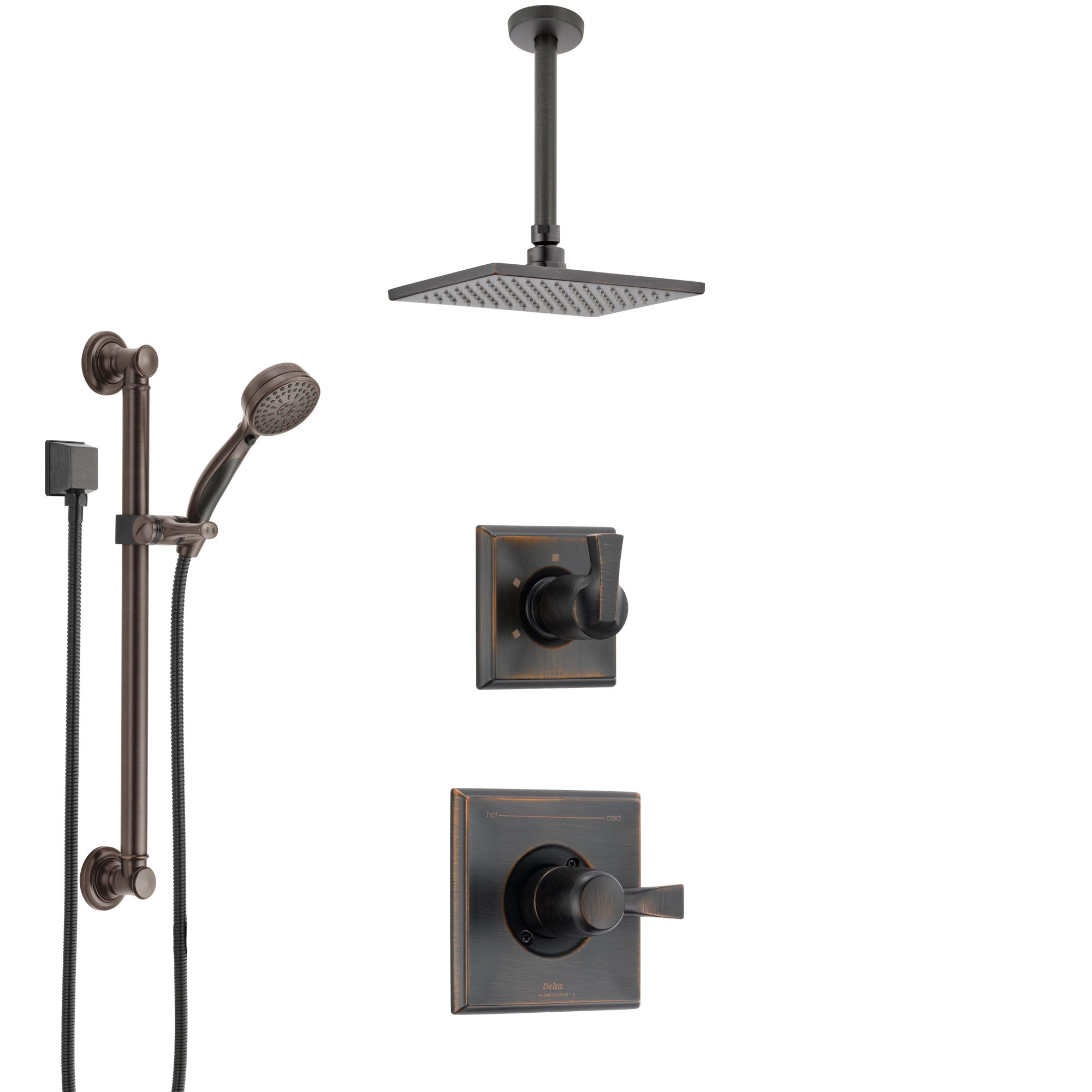 Delta Dryden Venetian Bronze Shower System with Control Handle, 3-Setting Diverter, Ceiling Mount Showerhead, and Hand Shower with Grab Bar SS1451RB1