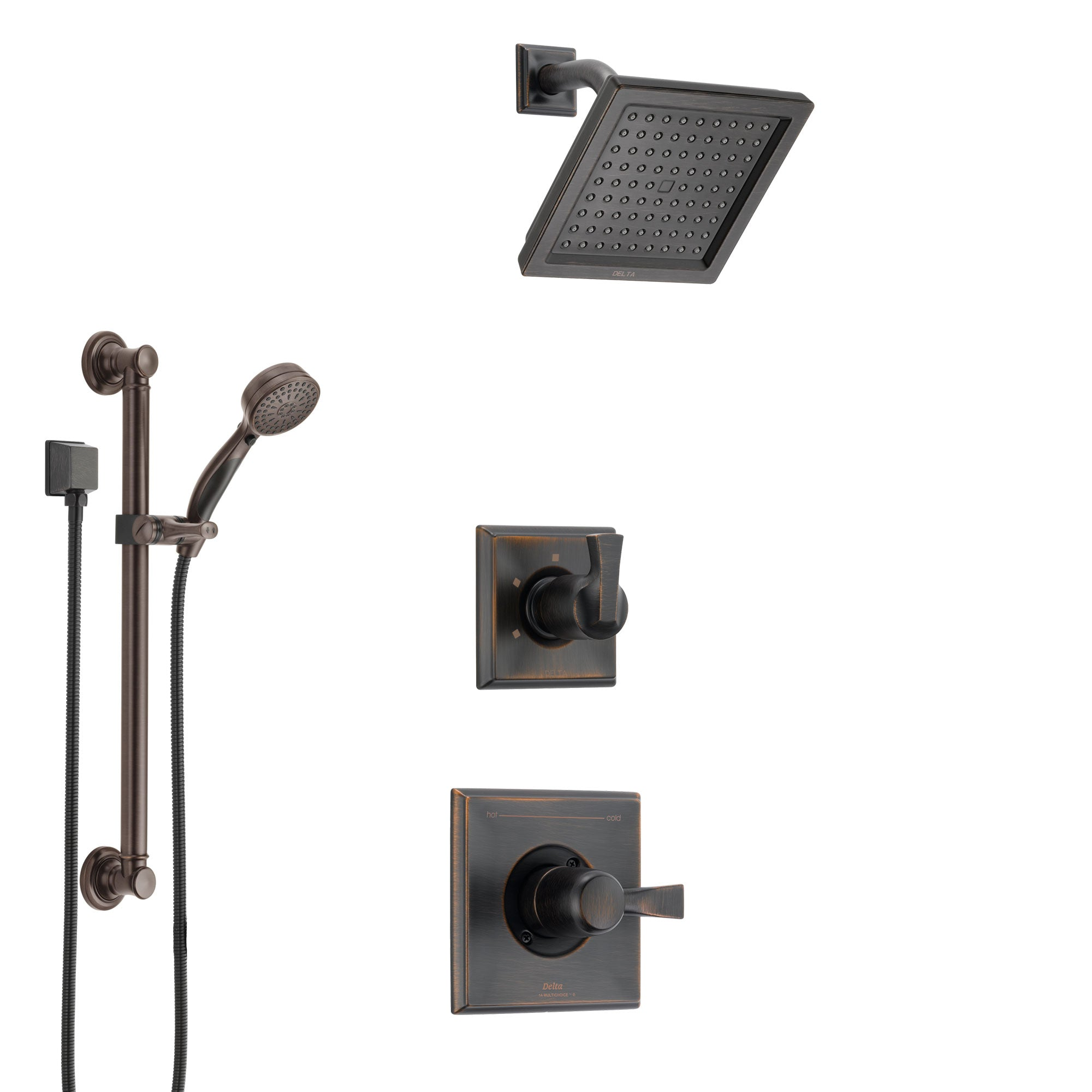 Delta Dryden Venetian Bronze Finish Shower System with Control Handle, 3-Setting Diverter, Showerhead, and Hand Shower with Grab Bar SS1451RB3
