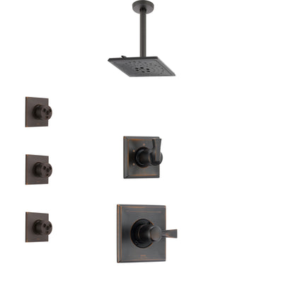 Delta Dryden Venetian Bronze Finish Shower System with Control Handle, 3-Setting Diverter, Ceiling Mount Showerhead, and 3 Body Sprays SS1451RB4