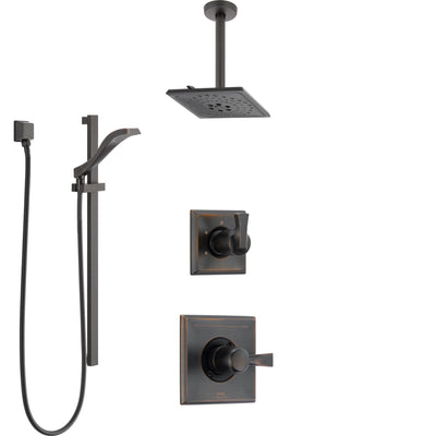 Delta Dryden Venetian Bronze Shower System with Control Handle, 3-Setting Diverter, Ceiling Mount Showerhead, and Hand Shower with Slidebar SS1451RB5