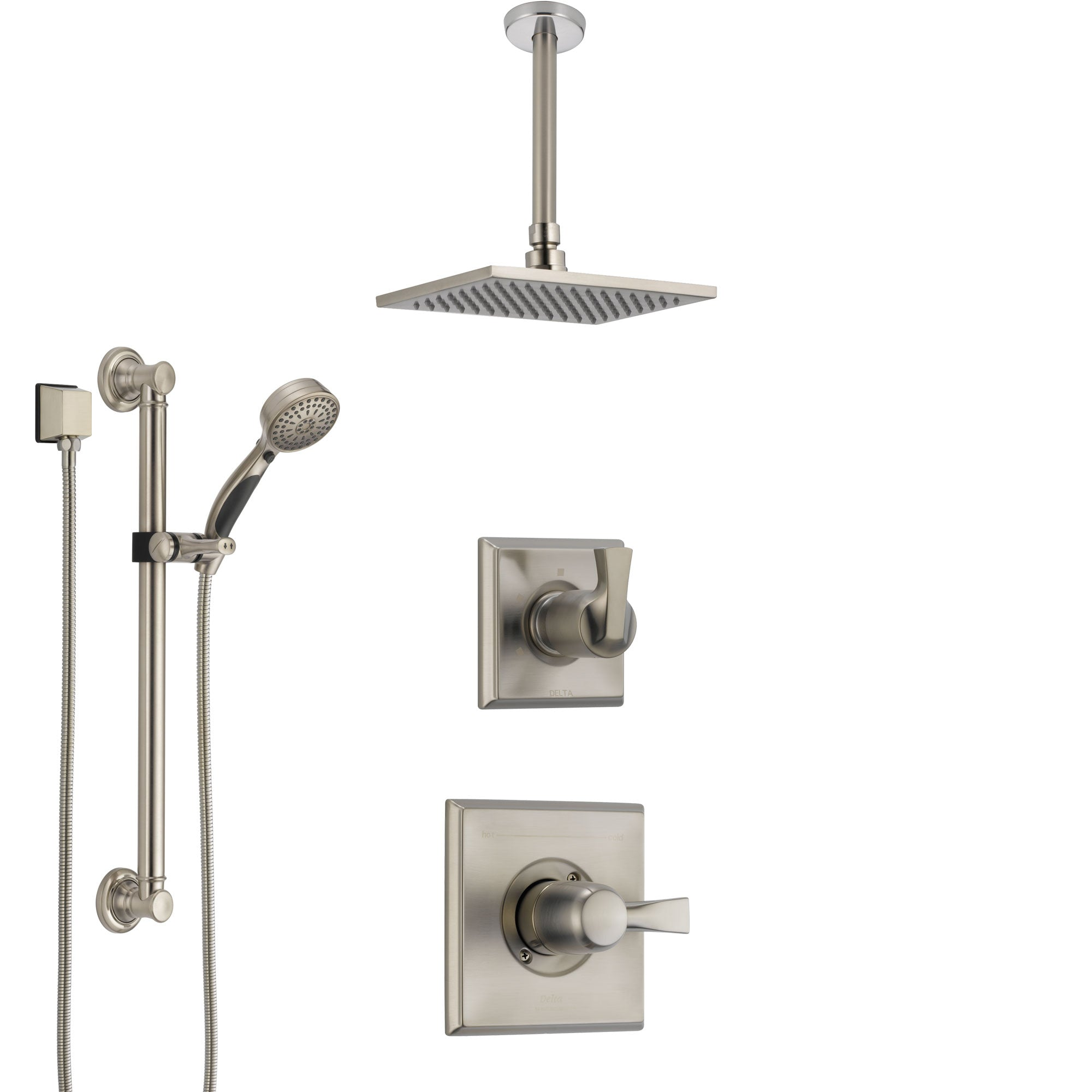 Delta Dryden Stainless Steel Finish Shower System with Control Handle, Diverter, Ceiling Mount Showerhead, and Hand Shower with Grab Bar SS1451SS2