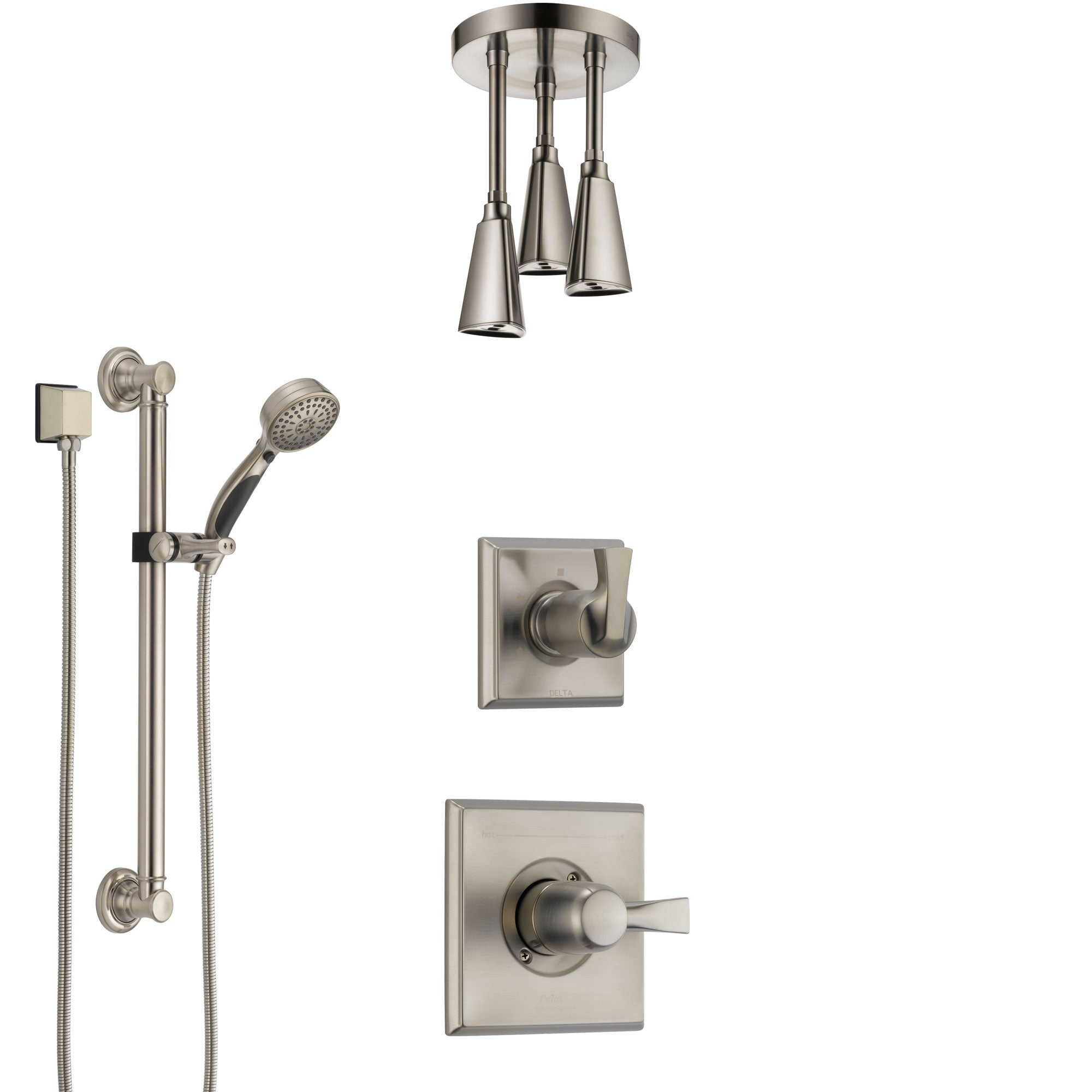 Delta Dryden Stainless Steel Finish Shower System with Control Handle, Diverter, Ceiling Mount Showerhead, and Hand Shower with Grab Bar SS1451SS3