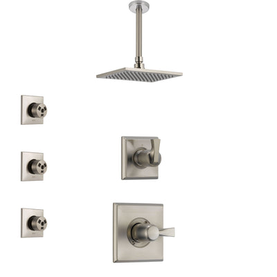 Delta Dryden Stainless Steel Finish Shower System with Control Handle, 3-Setting Diverter, Ceiling Mount Showerhead, and 3 Body Sprays SS1451SS7