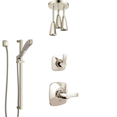 Delta Tesla Polished Nickel Shower System with Control Handle, 3-Setting Diverter, Ceiling Mount Showerhead, and Hand Shower with Slidebar SS1452PN2