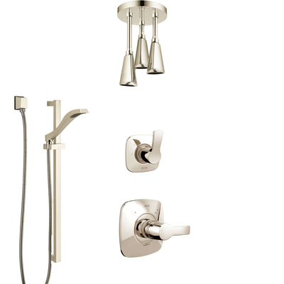 Delta Tesla Polished Nickel Shower System with Control Handle, 3-Setting Diverter, Ceiling Mount Showerhead, and Hand Shower with Slidebar SS1452PN3