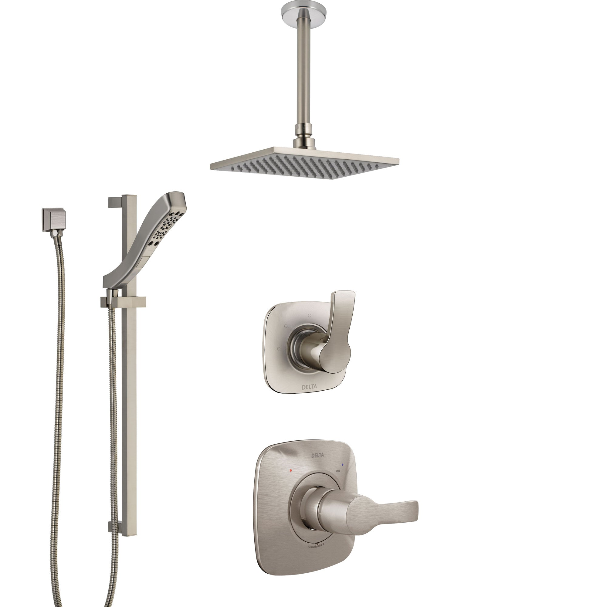 Delta Tesla Stainless Steel Finish Shower System with Control Handle, Diverter, Ceiling Mount Showerhead, and Hand Shower with Slidebar SS1452SS5