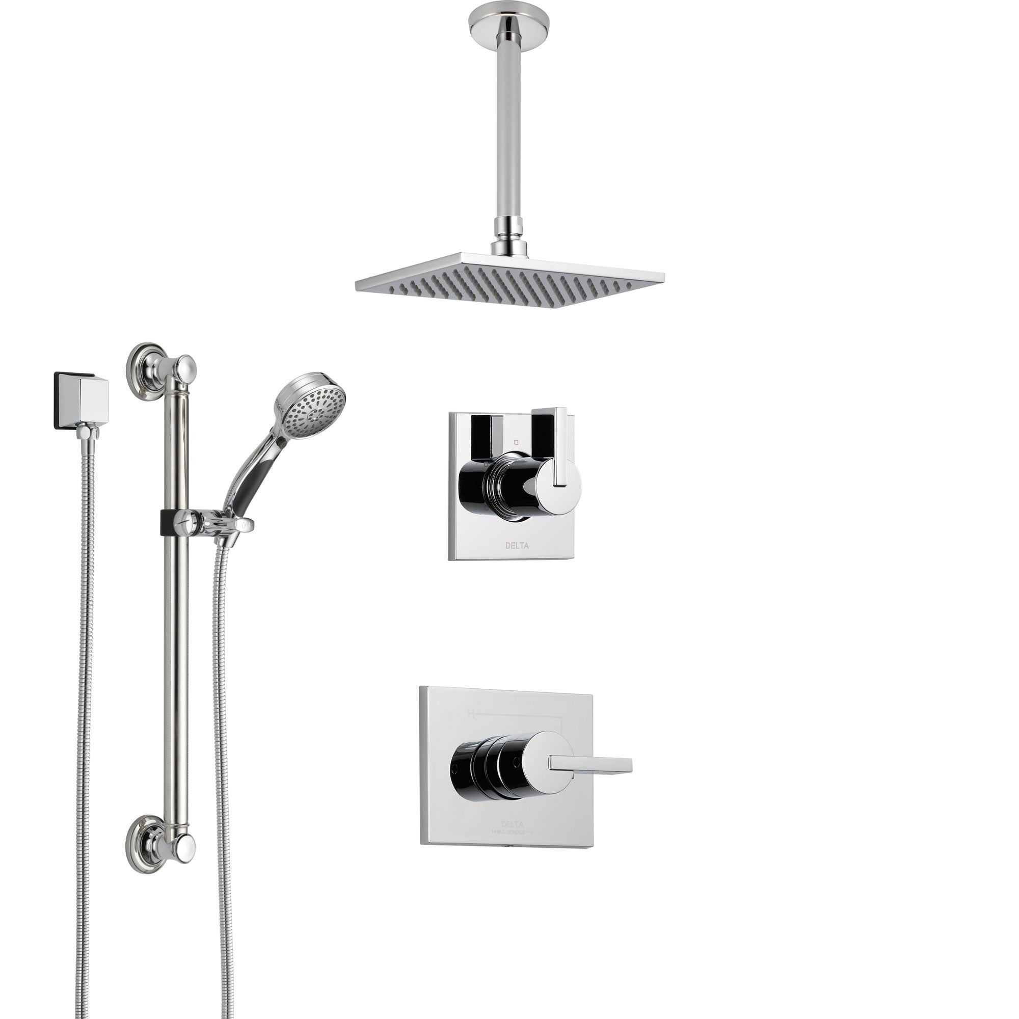 Delta Vero Chrome Finish Shower System with Control Handle, 3-Setting Diverter, Ceiling Mount Showerhead, and Hand Shower with Grab Bar SS14531