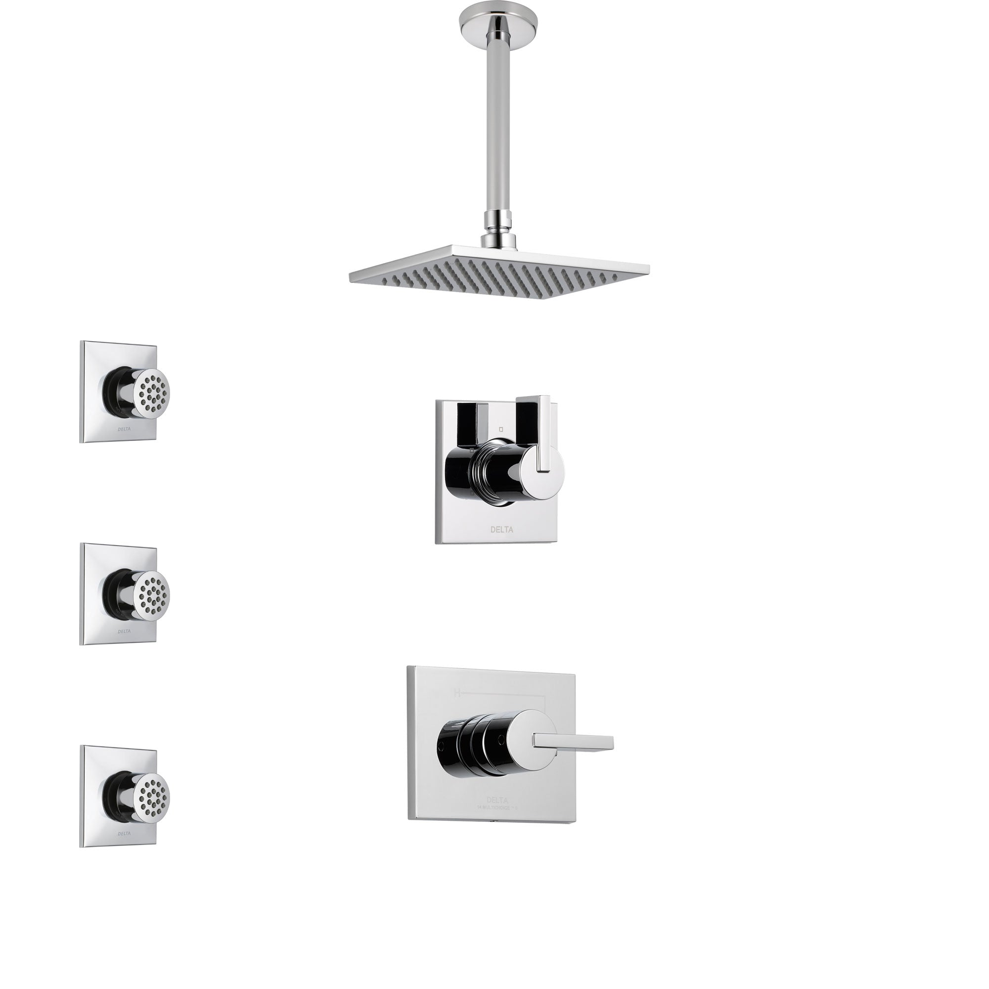 Delta Vero Chrome Finish Shower System With Control Handle 3 Setting Diverter Ceiling Mount Showerhead And 3 Body Sprays Ss14536