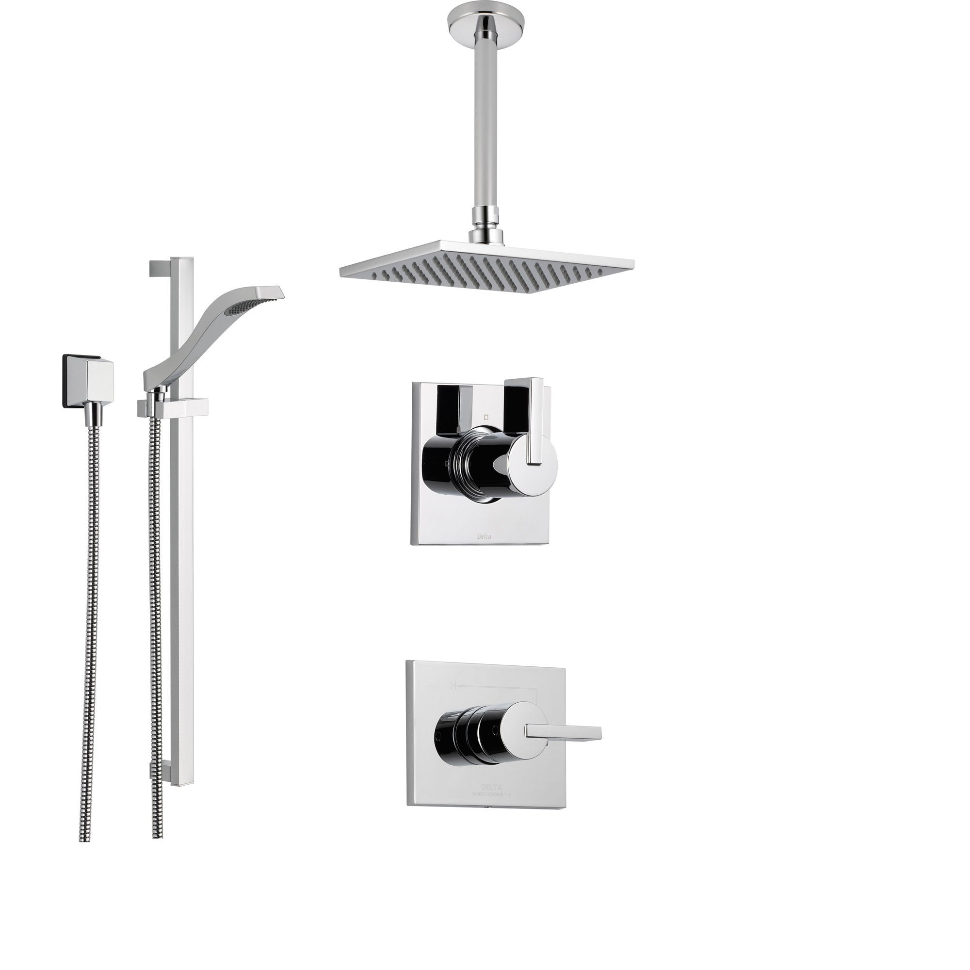 Delta Vero Chrome Shower System With Normal Shower Handle 3 Setting Diverter Large Ceiling Mount Rain Showerhead And Handheld Shower Ss145383