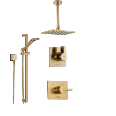 Delta Vero Champagne Bronze Shower System with Normal Shower Handle, 3-setting Diverter, Large Square Ceiling Mount Showerhead, and Handheld Spray SS145383CZ