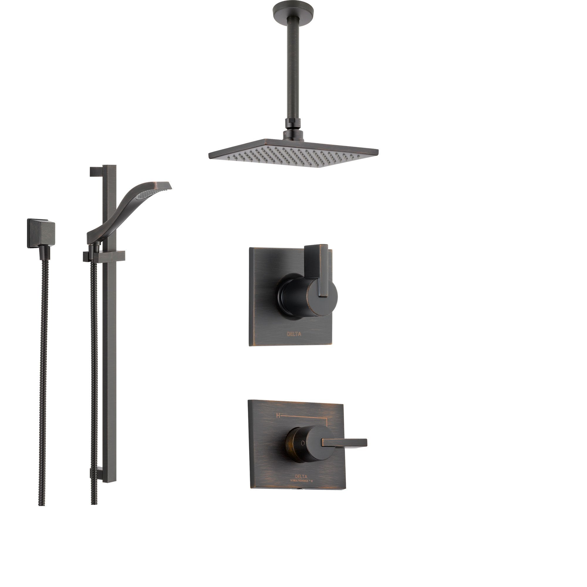 Ceiling Mount Rain Showerhead And Handheld Shower Ss145383rb Delta Vero  Venetian Bronze System With Normal Handle