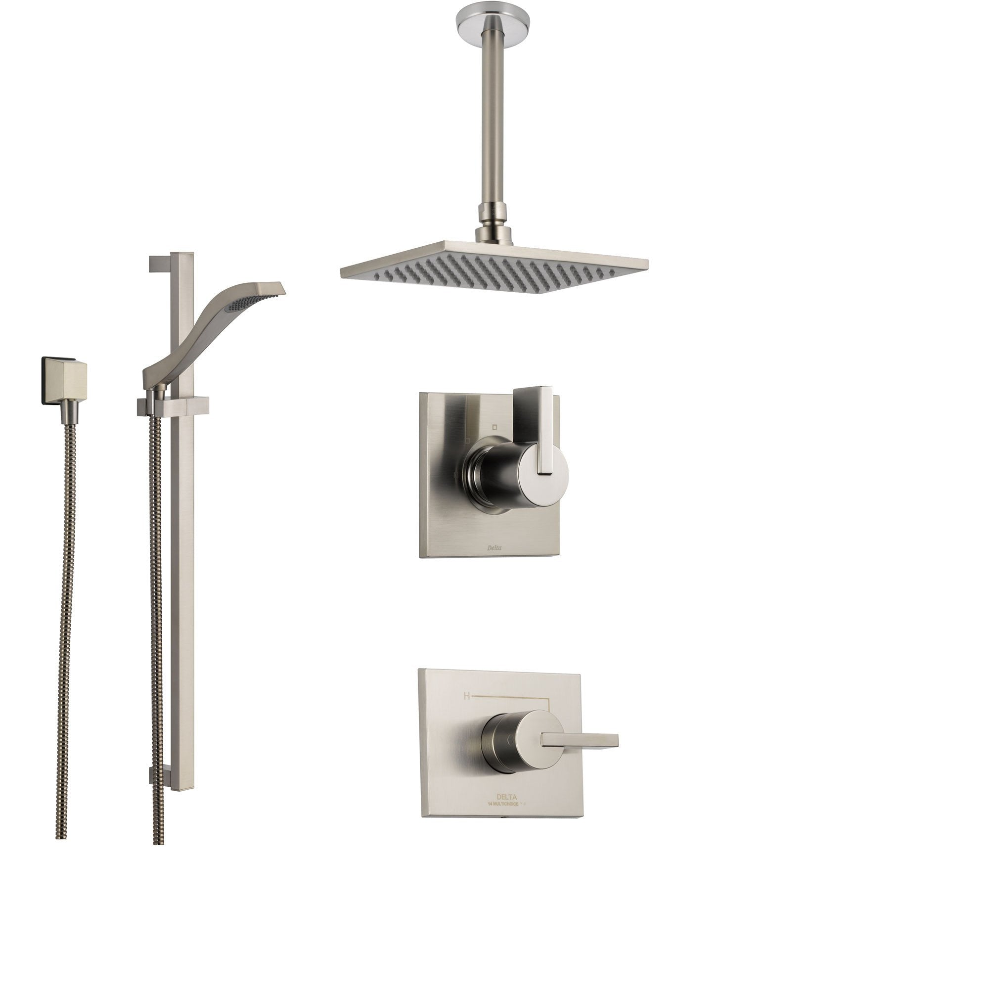 Delta Vero Stainless Steel Shower System with Normal Shower Handle, 3-setting Diverter, Large Square Rain Ceiling Mount Showerhead, and Handheld Shower SS145383SS