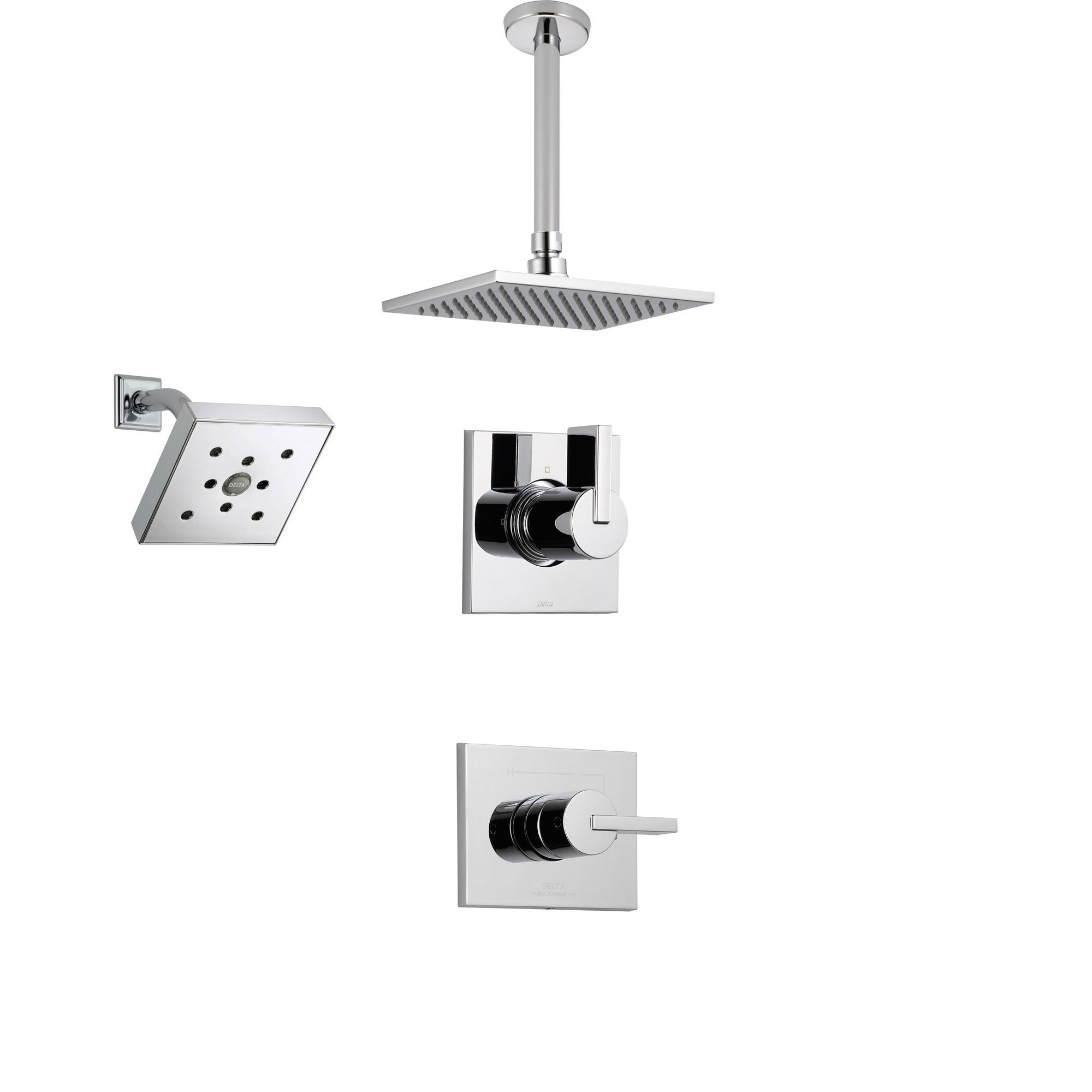 Delta Vero Chrome Shower System With Normal Shower Handle 3 Setting Diverter Large Ceiling Mount Rain Showerhead And Wall Mount Showerhead Ss145384