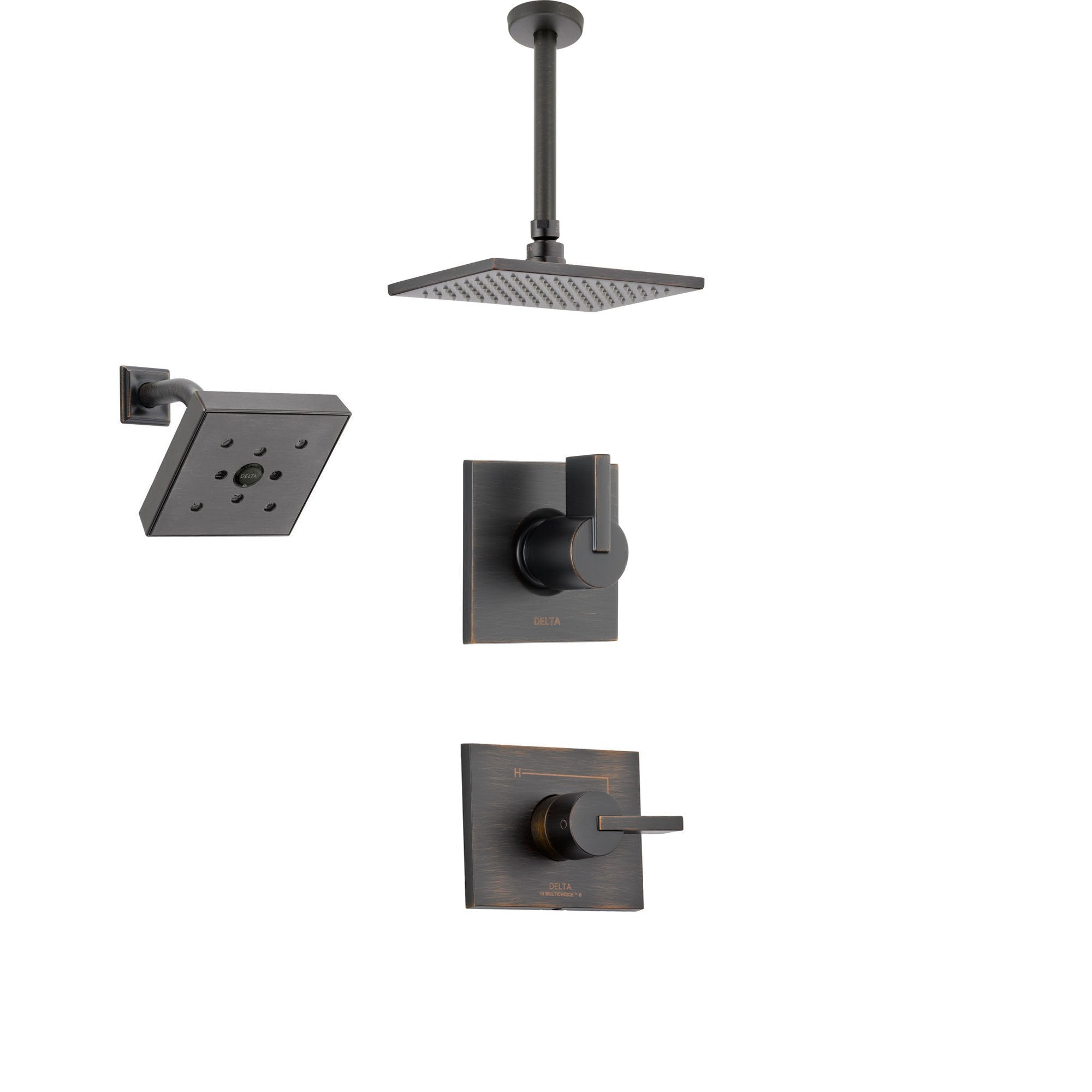 Delta Vero Venetian Bronze Shower System with Normal Shower Handle, 3-setting Diverter, Large Modern Ceiling Mount Rain Showerhead, and Wall Mount Showerhead SS145384RB