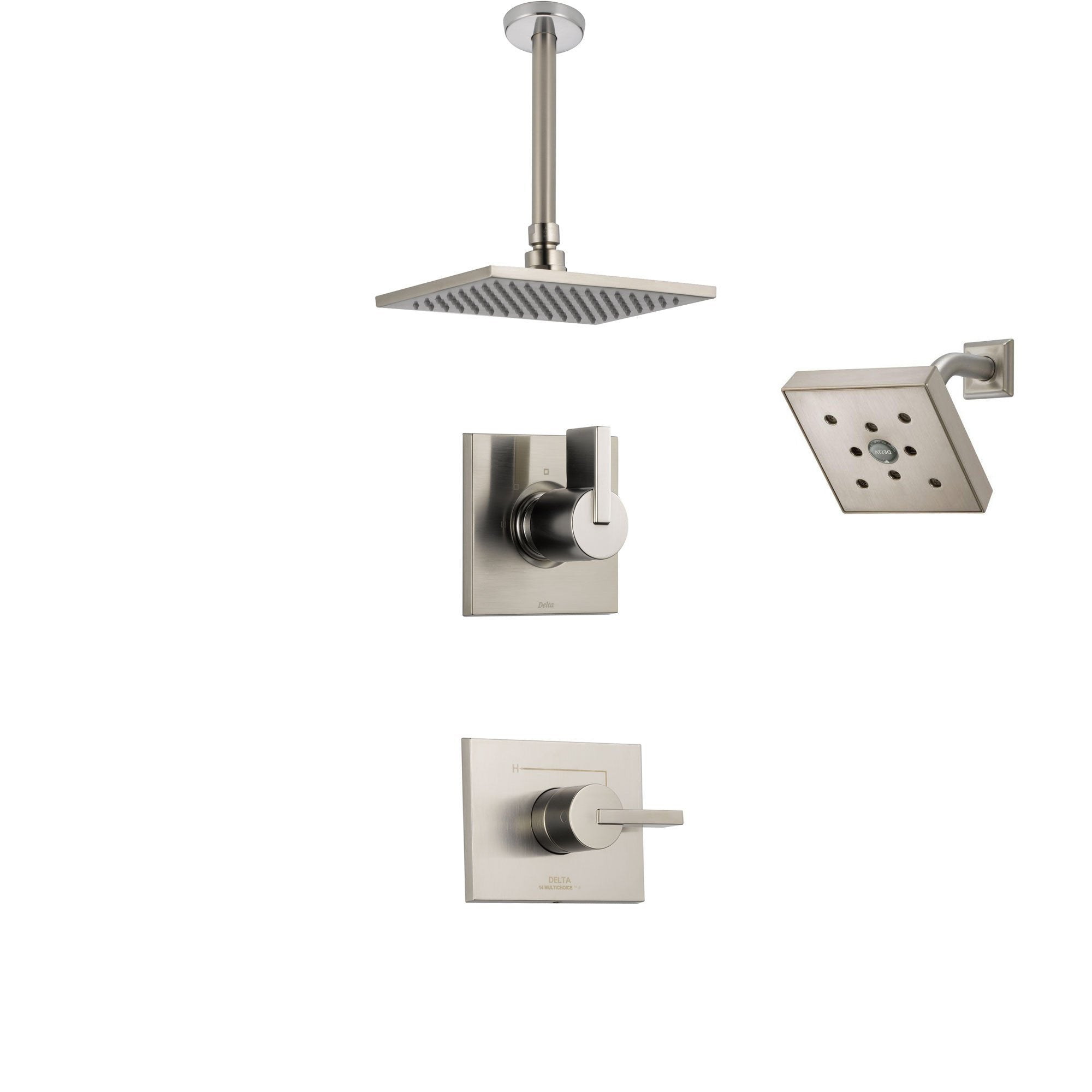 Delta Vero Stainless Steel Shower System with Normal Shower Handle, 3-setting Diverter, Large Square Rain Ceiling Mount Showerhead, and Wall Mount Modern Showerhead SS145384SS