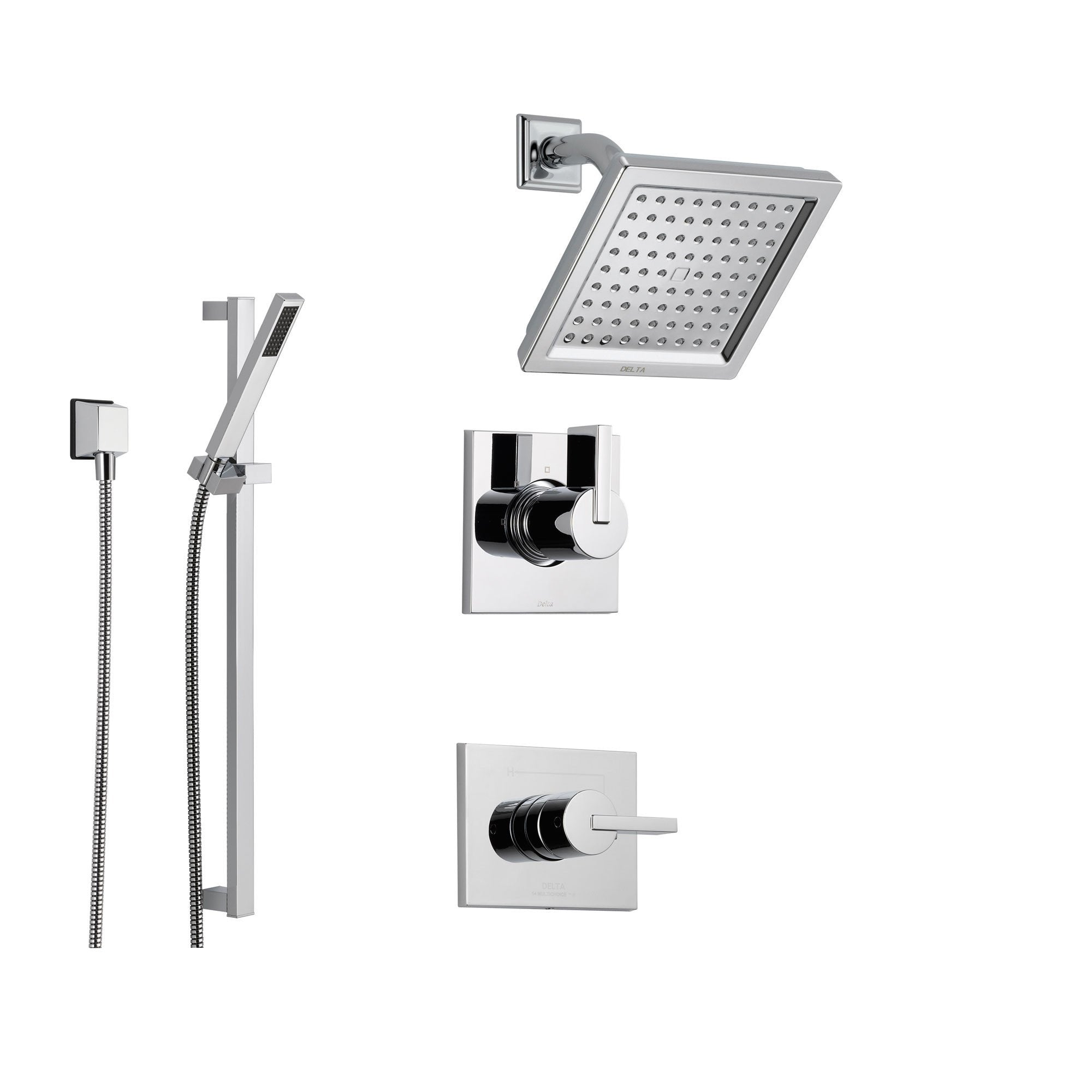 Delta Vero Chrome Shower System With Normal Shower Handle 3 Setting Diverter Modern Square Showerhead And Handheld Shower Ss145385