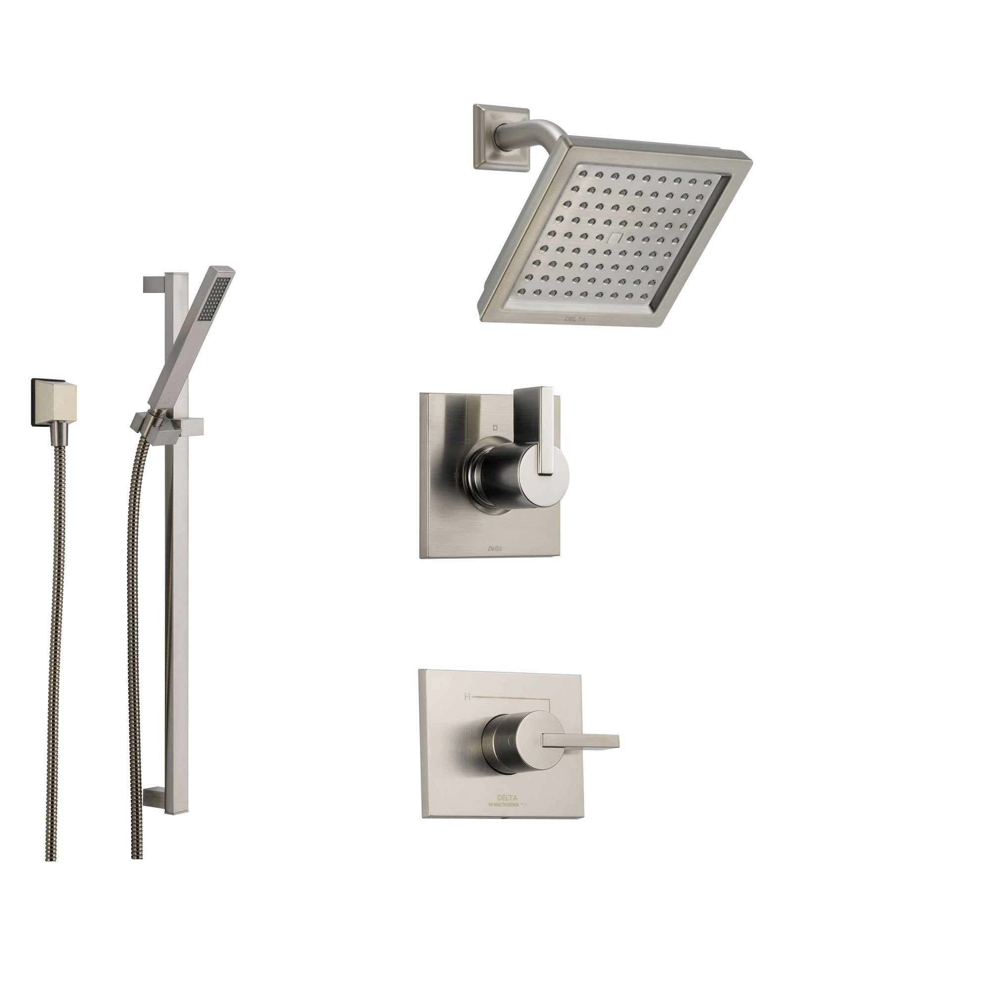 Delta Vero Stainless Steel Shower System with Normal Shower Handle, 3-setting Diverter, Square Showerhead, and Modern Handheld Shower SS145385SS