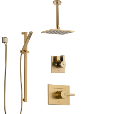 Delta Vero Champagne Bronze Shower System with Control Handle, 3-Setting Diverter, Ceiling Mount Showerhead, and Hand Shower with Slidebar SS1453CZ2