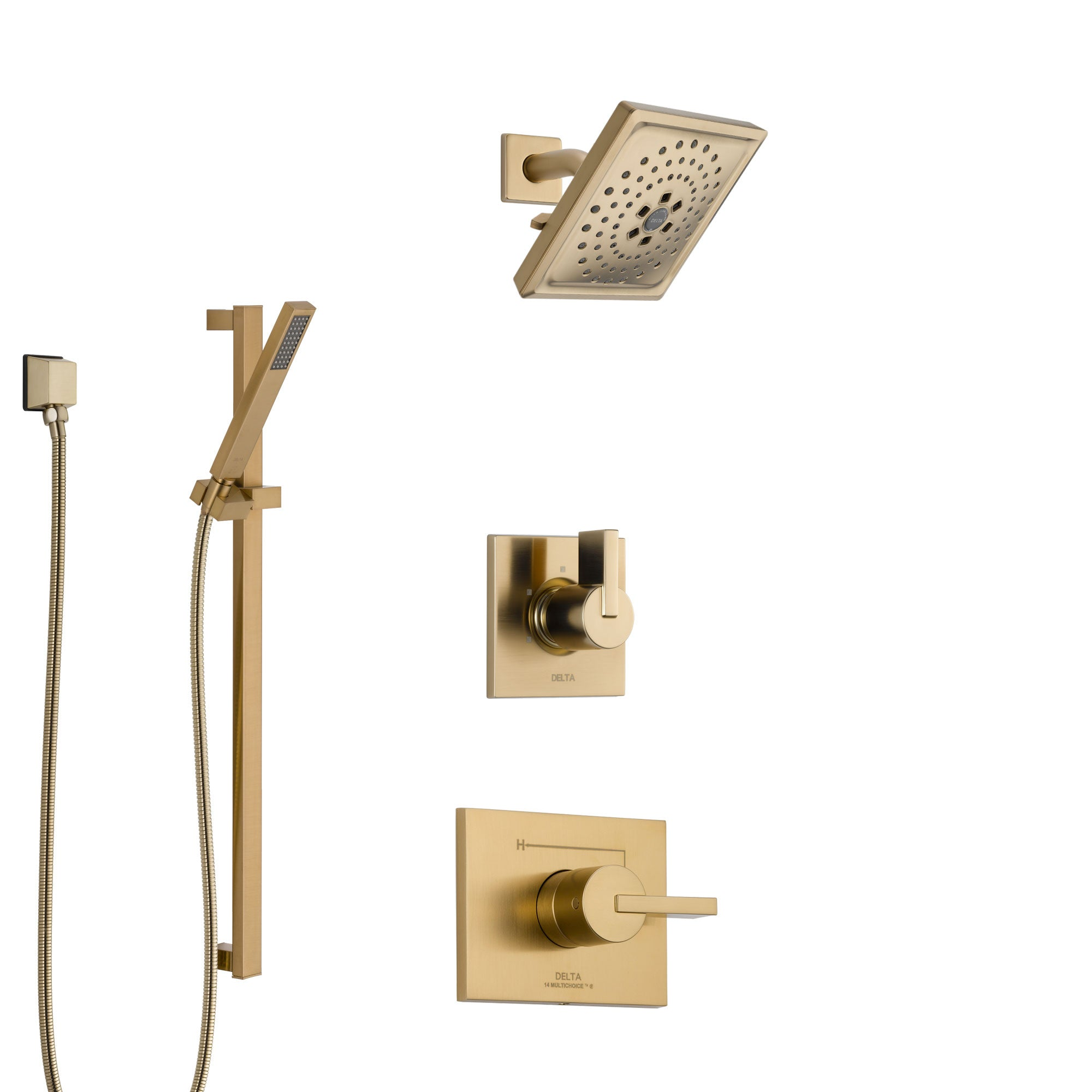 Delta Vero Champagne Bronze Finish Shower System with Control Handle, 3-Setting Diverter, Showerhead, and Hand Shower with Slidebar SS1453CZ3