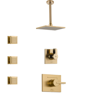 Delta Vero Champagne Bronze Finish Shower System with Control Handle, 3-Setting Diverter, Ceiling Mount Showerhead, and 3 Body Sprays SS1453CZ5