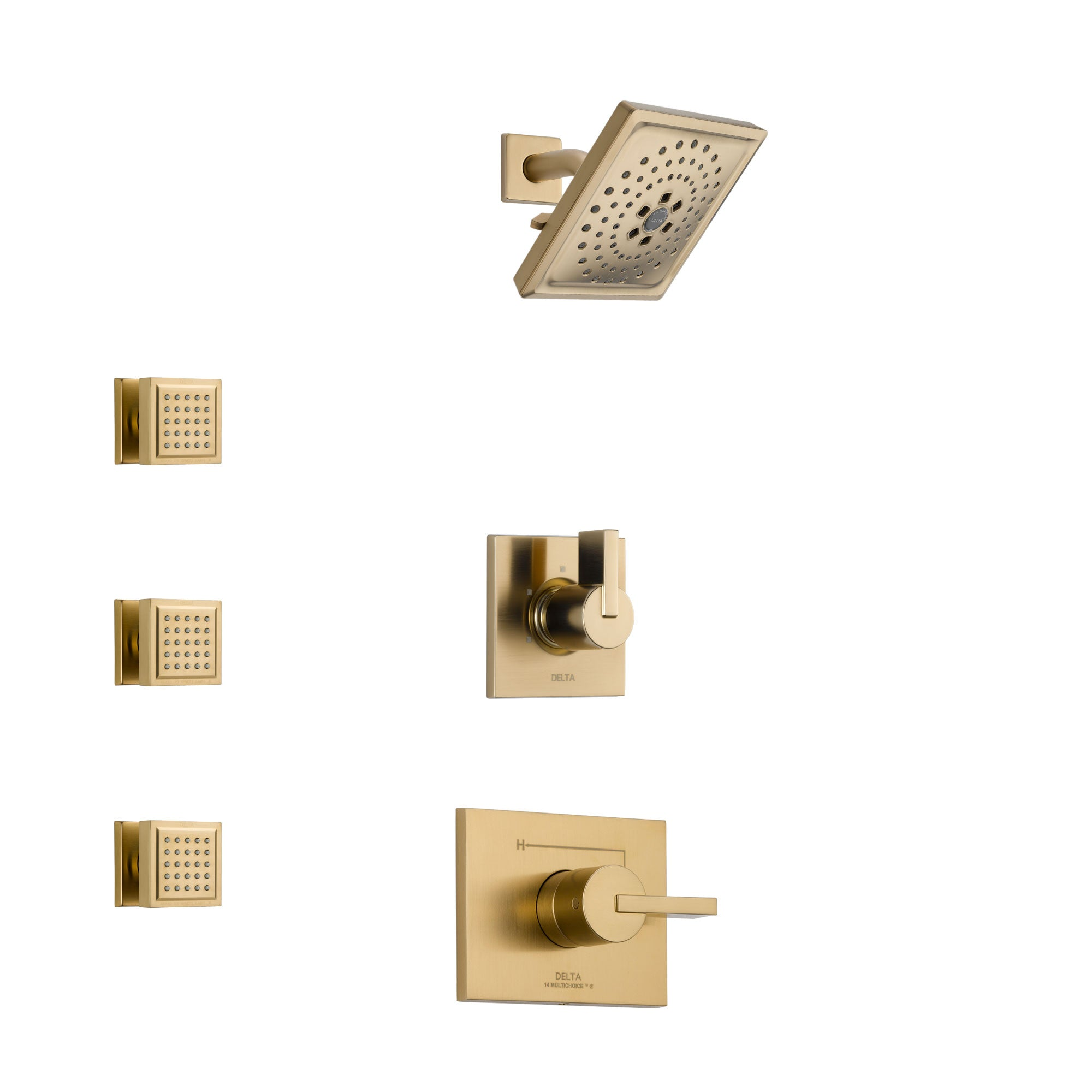 Delta Vero Champagne Bronze Finish Shower System with Control Handle, 3-Setting Diverter, Showerhead, and 3 Body Sprays SS1453CZ6
