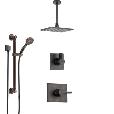 Delta Vero Venetian Bronze Shower System with Control Handle, 3-Setting Diverter, Ceiling Mount Showerhead, and Hand Shower with Grab Bar SS1453RB1