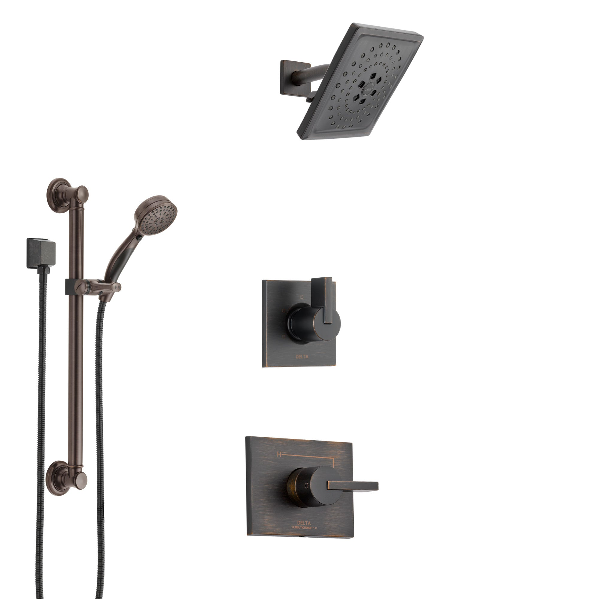 Delta Vero Venetian Bronze Finish Shower System with Control Handle, 3-Setting Diverter, Showerhead, and Hand Shower with Grab Bar SS1453RB3