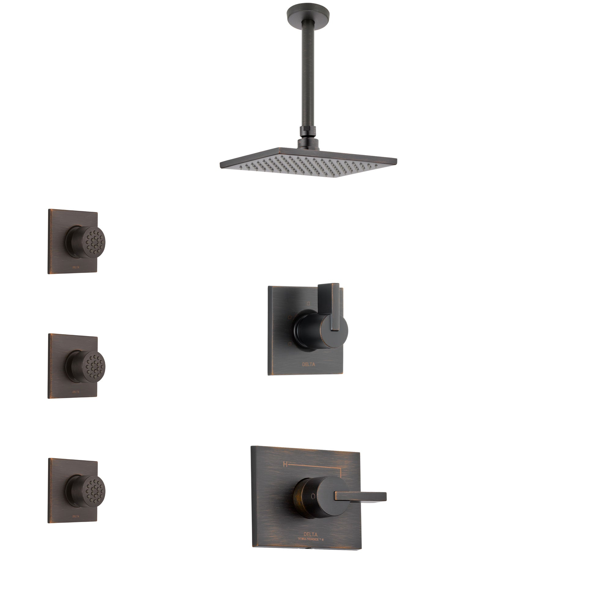 Delta Vero Venetian Bronze Finish Shower System with Control Handle, 3-Setting Diverter, Ceiling Mount Showerhead, and 3 Body Sprays SS1453RB4