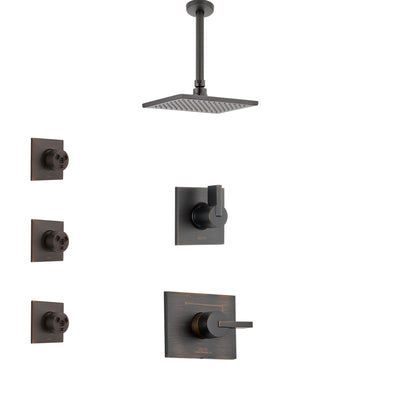Delta Vero Venetian Bronze Finish Shower System with Control Handle, 3-Setting Diverter, Ceiling Mount Showerhead, and 3 Body Sprays SS1453RB5