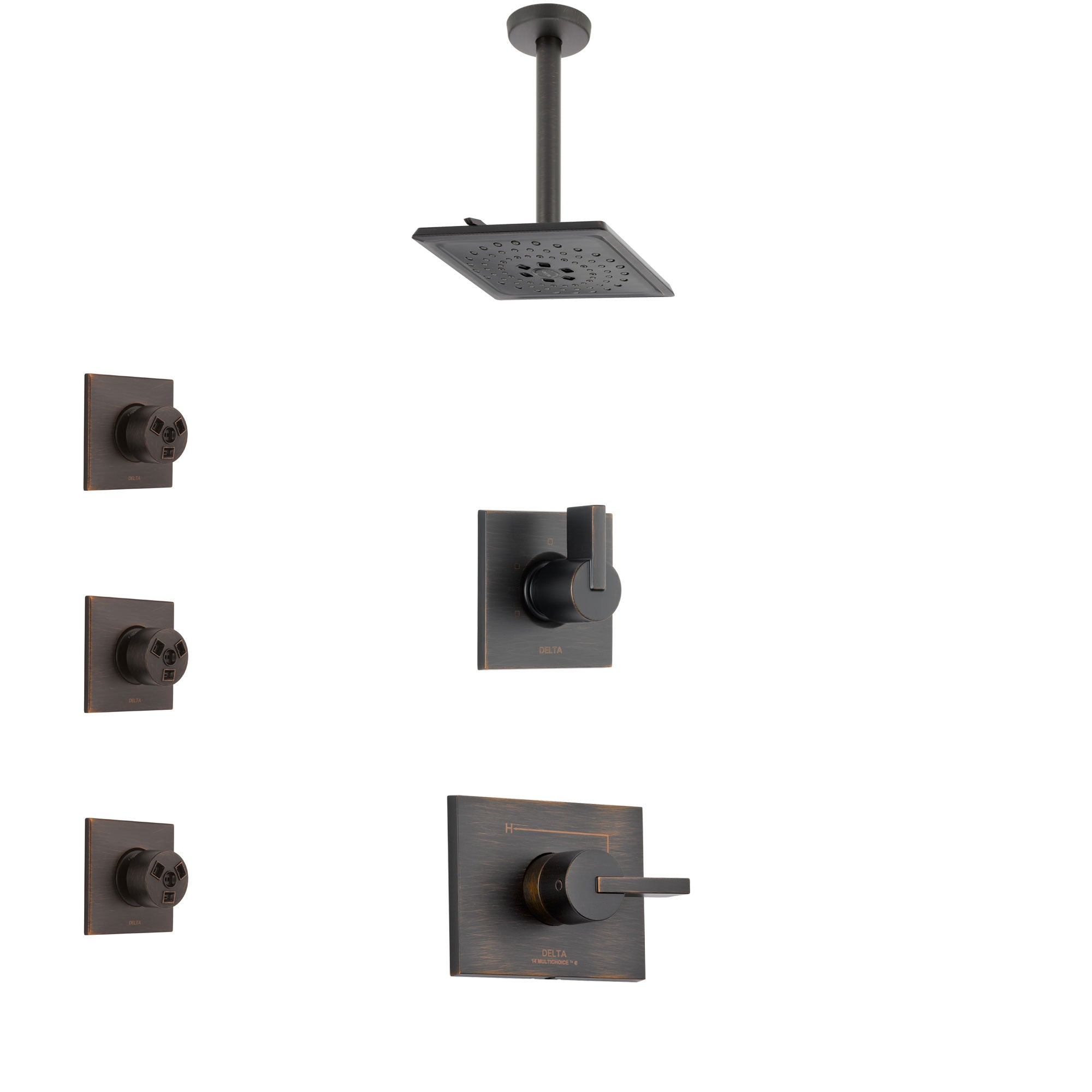 Delta Vero Venetian Bronze Finish Shower System with Control Handle, 3-Setting Diverter, Ceiling Mount Showerhead, and 3 Body Sprays SS1453RB7