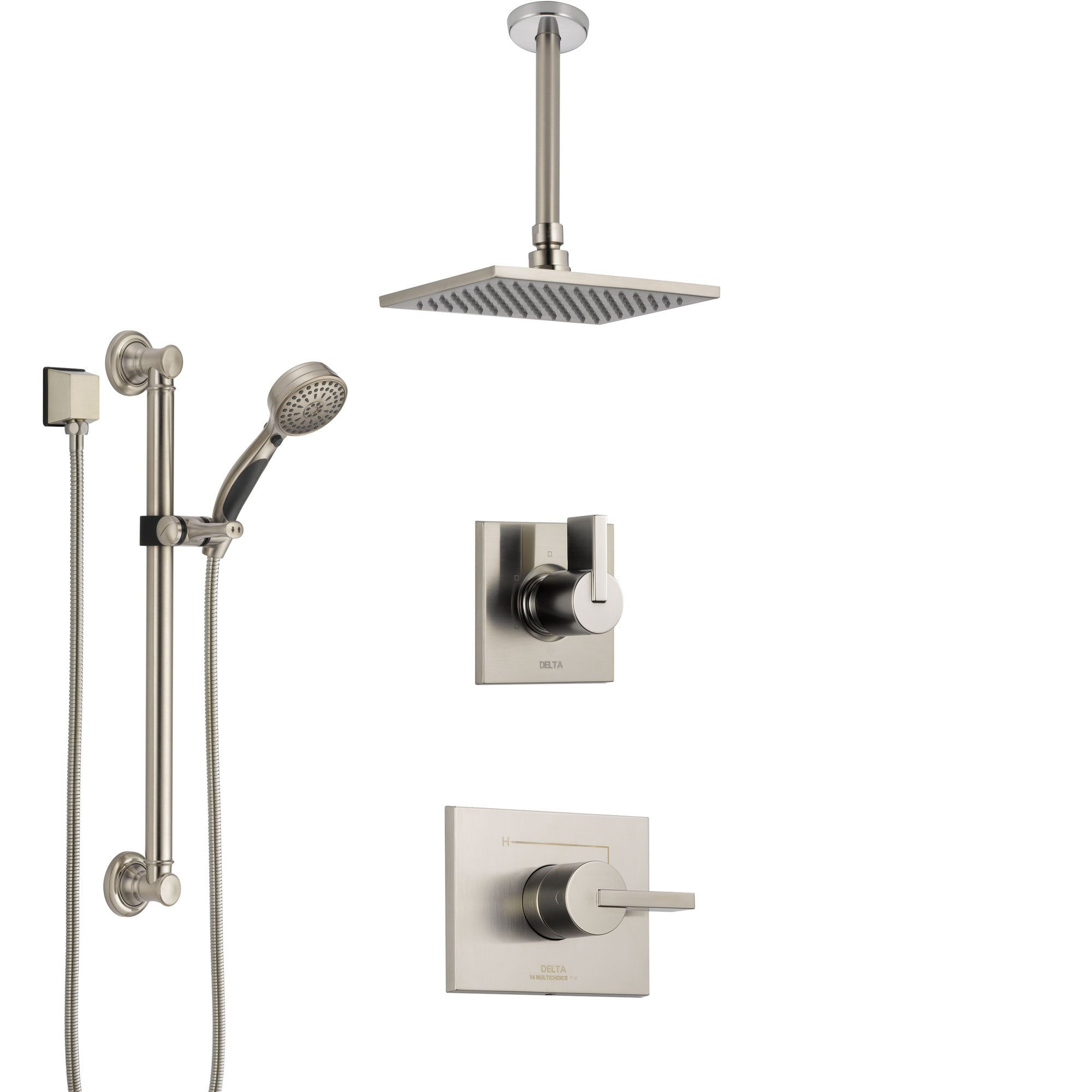 Delta Vero Stainless Steel Finish Shower System with Control Handle, Diverter, Ceiling Mount Showerhead, and Hand Shower with Grab Bar SS1453SS1