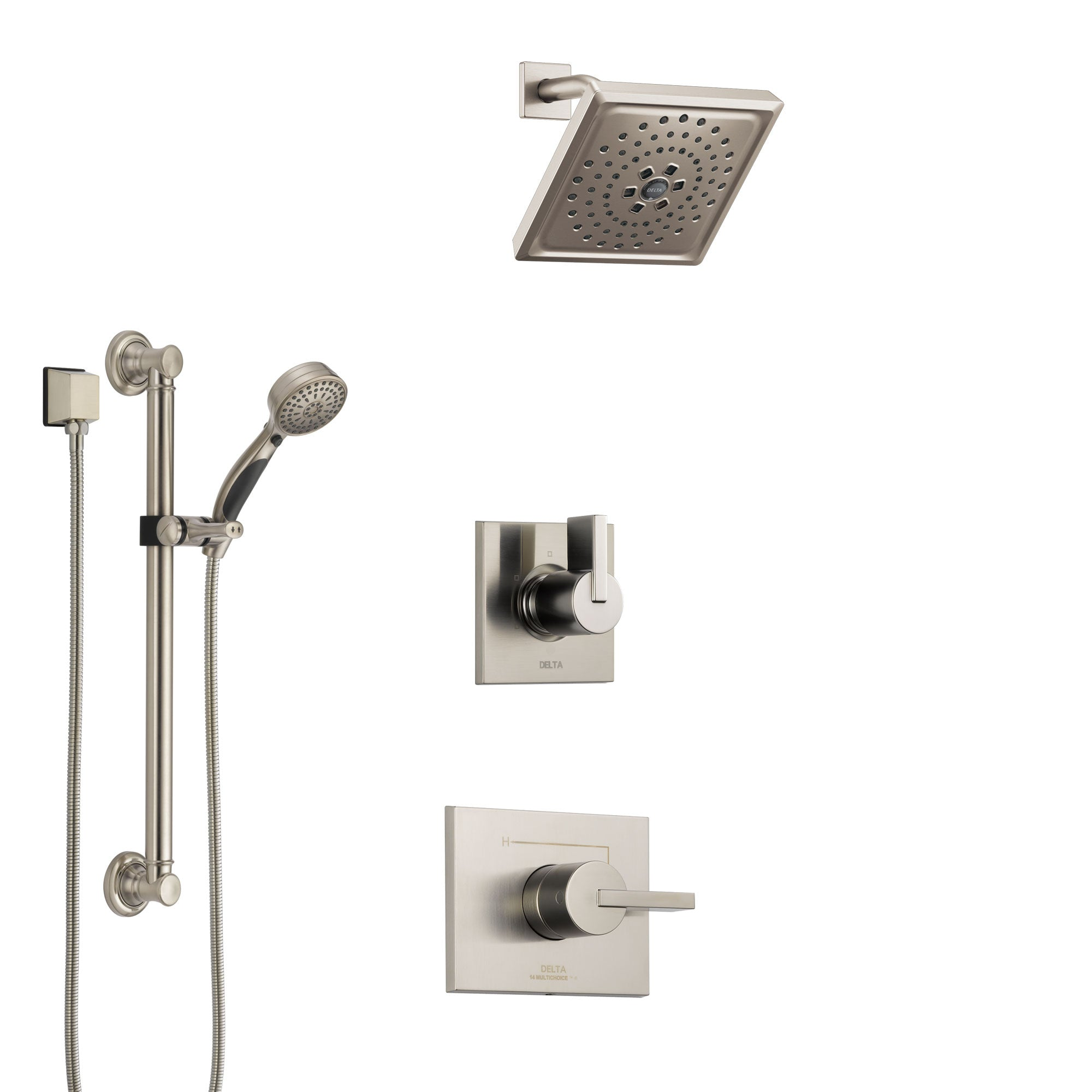Delta Vero Stainless Steel Finish Shower System with Control Handle, 3-Setting Diverter, Showerhead, and Hand Shower with Grab Bar SS1453SS2