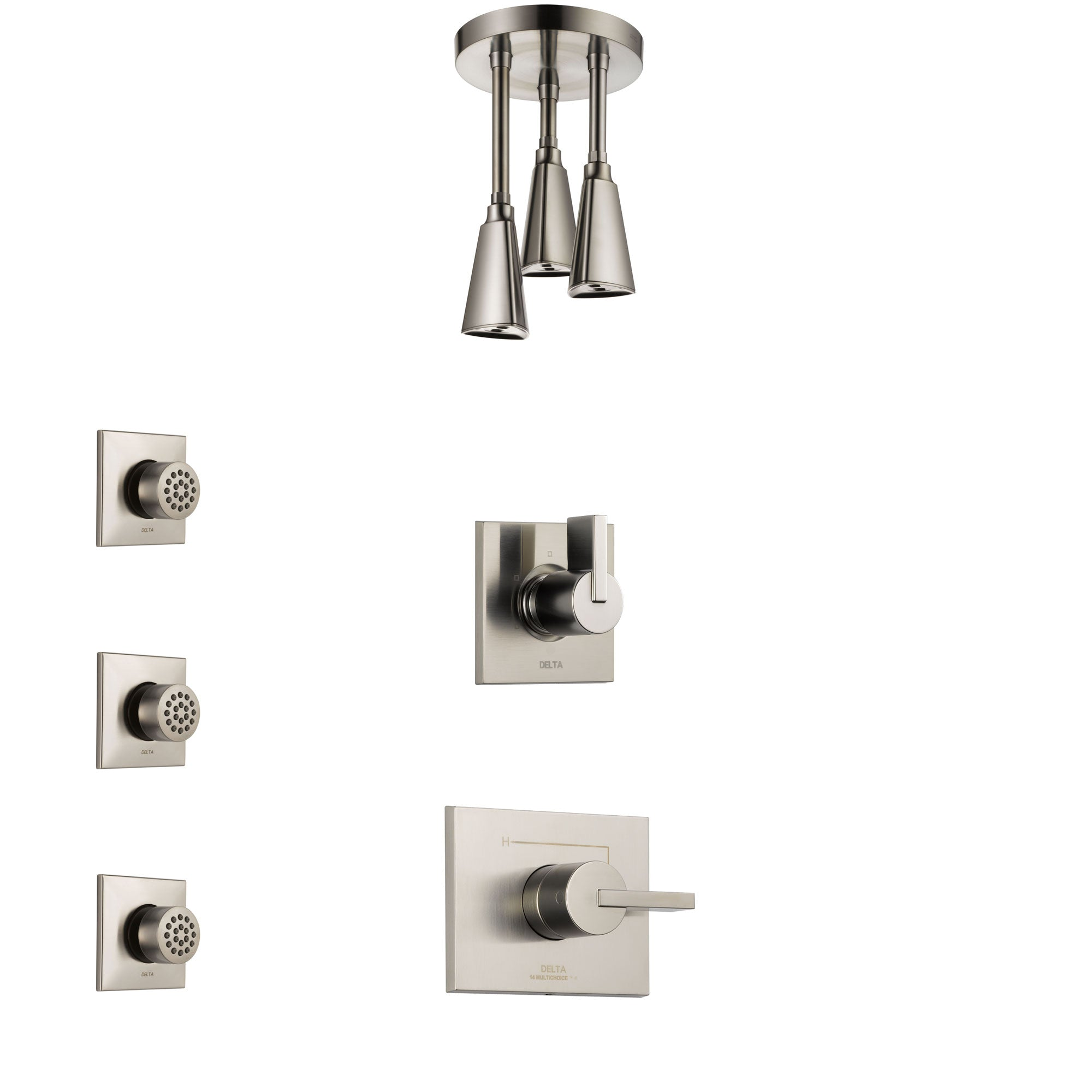 Delta Vero Stainless Steel Finish Shower System with Control Handle, 3-Setting Diverter, Ceiling Mount Showerhead, and 3 Body Sprays SS1453SS6
