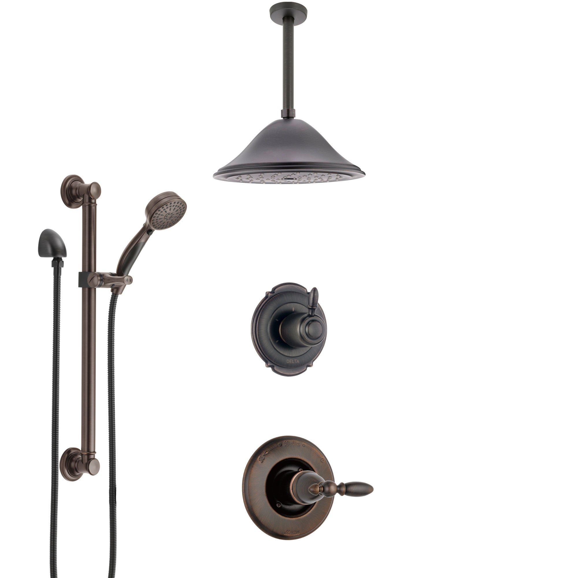 Delta Victorian Venetian Bronze Shower System with Control Handle, Diverter, Ceiling Mount Showerhead, and Hand Shower with Grab Bar SS1455RB4