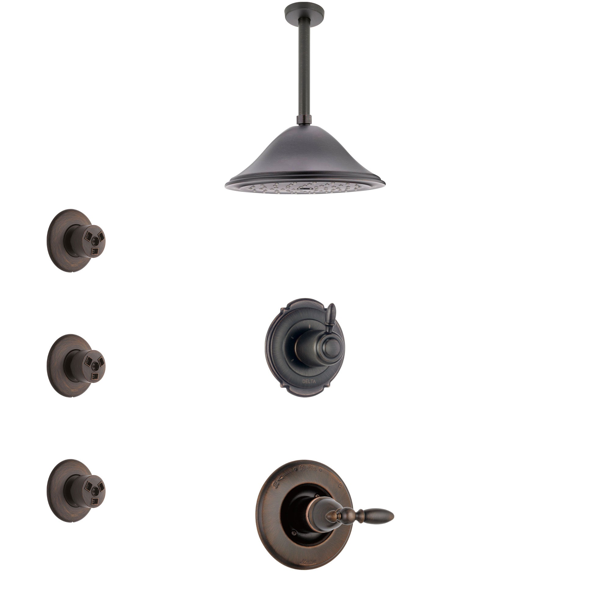 Delta Victorian Venetian Bronze Finish Shower System with Control Handle, 3-Setting Diverter, Ceiling Mount Showerhead, and 3 Body Sprays SS1455RB5