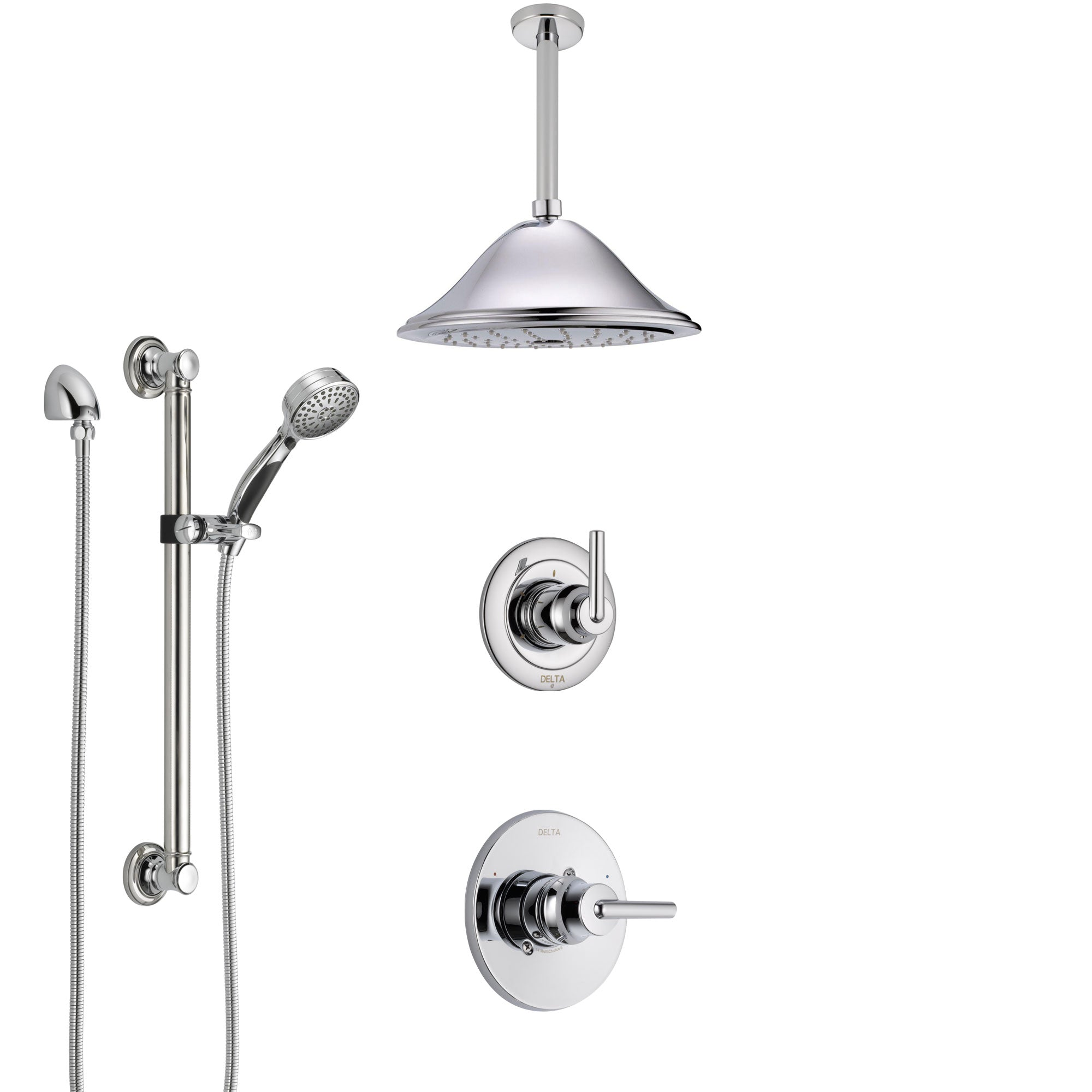 Delta Trinsic Chrome Finish Shower System with Control Handle, 3-Setting Diverter, Ceiling Mount Showerhead, and Hand Shower with Grab Bar SS14591