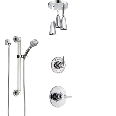 Delta Trinsic Chrome Finish Shower System with Control Handle, 3-Setting Diverter, Ceiling Mount Showerhead, and Hand Shower with Grab Bar SS14593