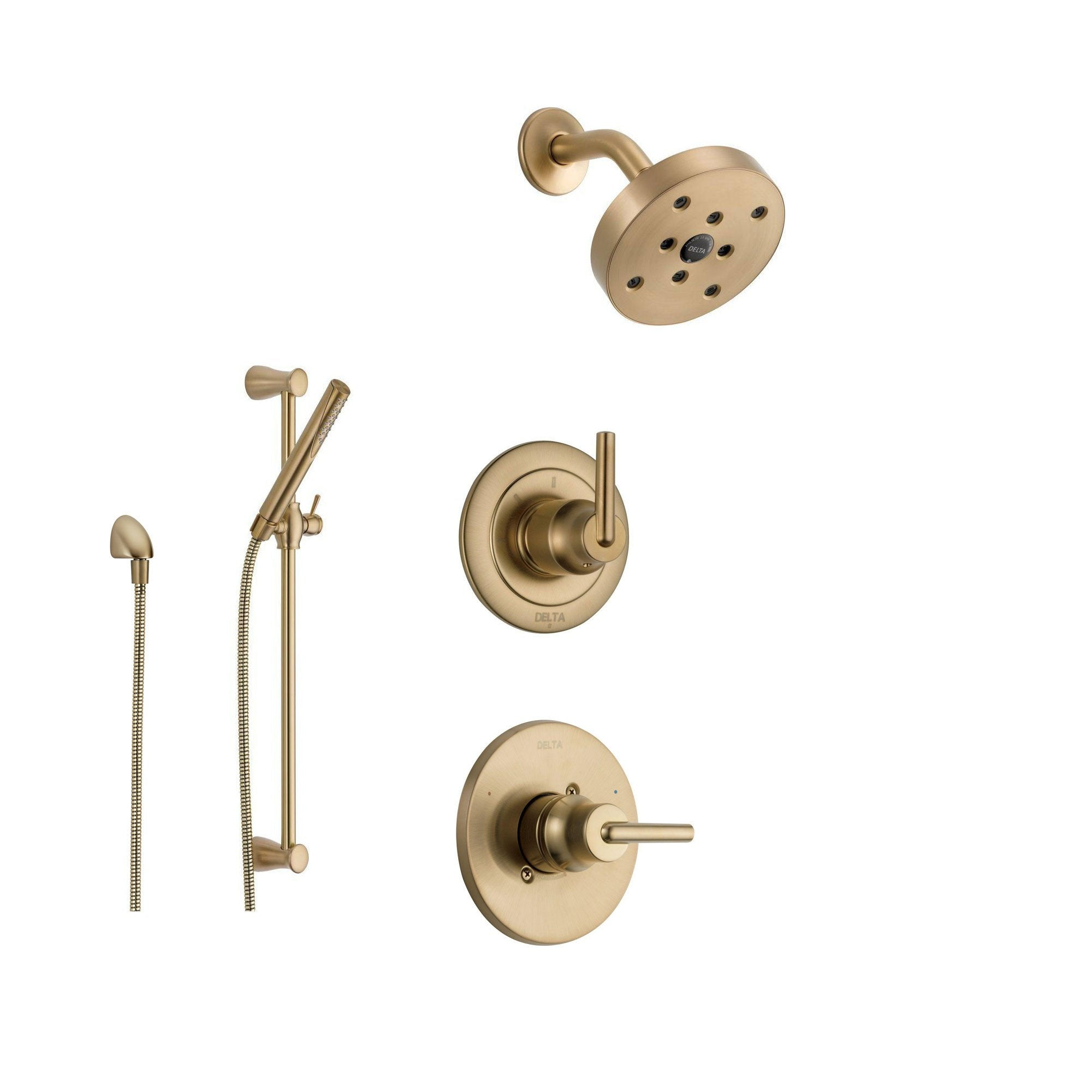 Delta Trinsic Champagne Bronze Shower System With Normal Shower Handle 3 Setting Diverter Modern Round Showerhead And Handheld Shower Wand