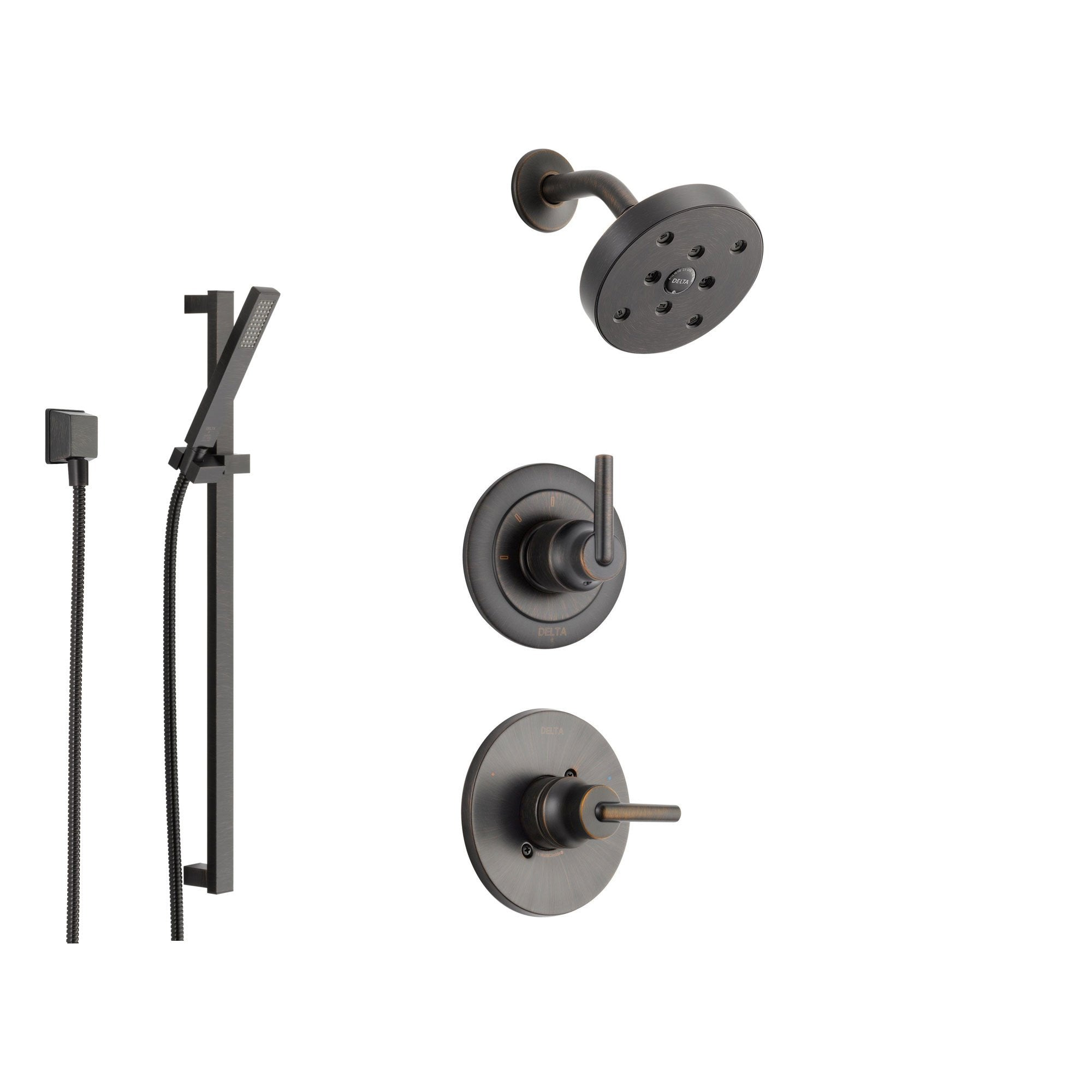 Delta Trinsic Venetian Bronze Shower System With Normal Shower Handle 3 Setting Diverter Modern Round Showerhead And Handheld Shower Ss145981rb