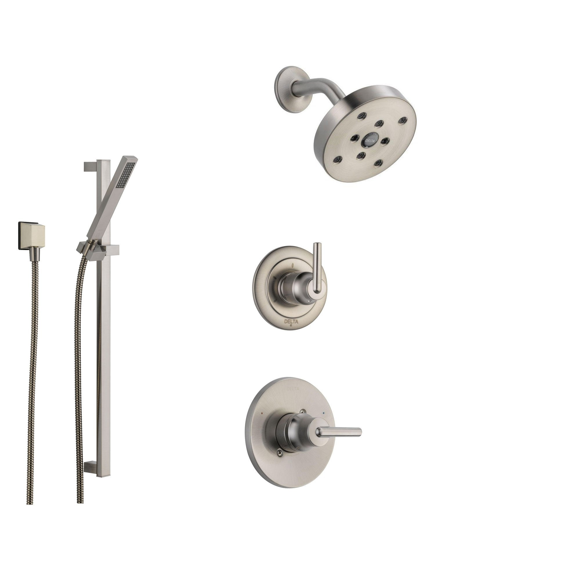 Delta Trinsic Stainless Steel Shower System with Normal Shower Handle, 3-setting Diverter, Modern Round Showerhead, and Handheld Shower Spray SS145981SS