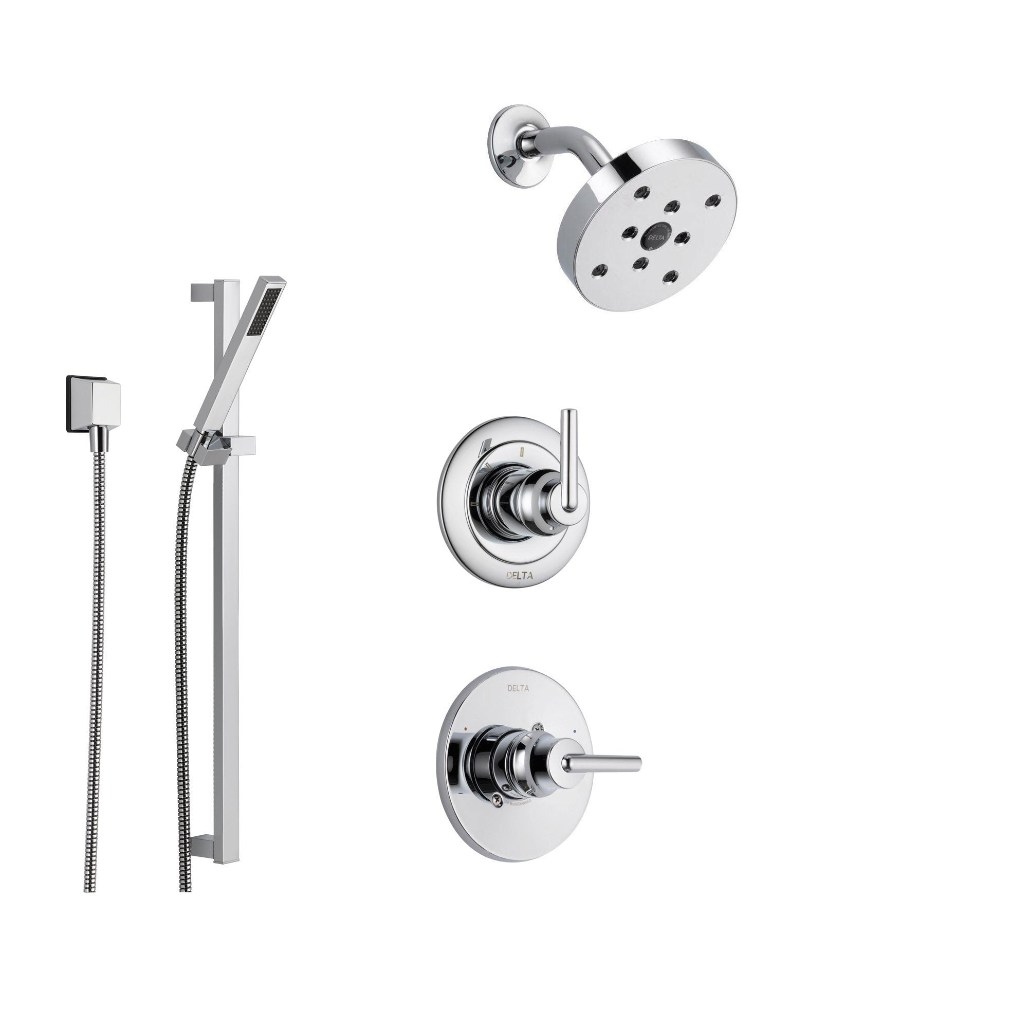 Delta Trinsic Chrome Shower System with Normal Shower Handle, 3-setting Diverter, Modern Round Showerhead, and Handheld Shower SS145981
