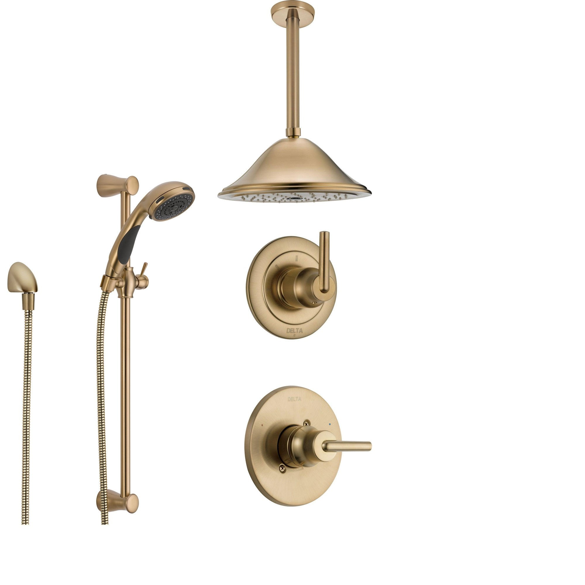 Delta Trinsic Champagne Bronze Shower System with Normal Shower Handle, 3-setting Diverter, Large Ceiling Mount Rain Showerhead, and Handheld Spray SS145982CZ