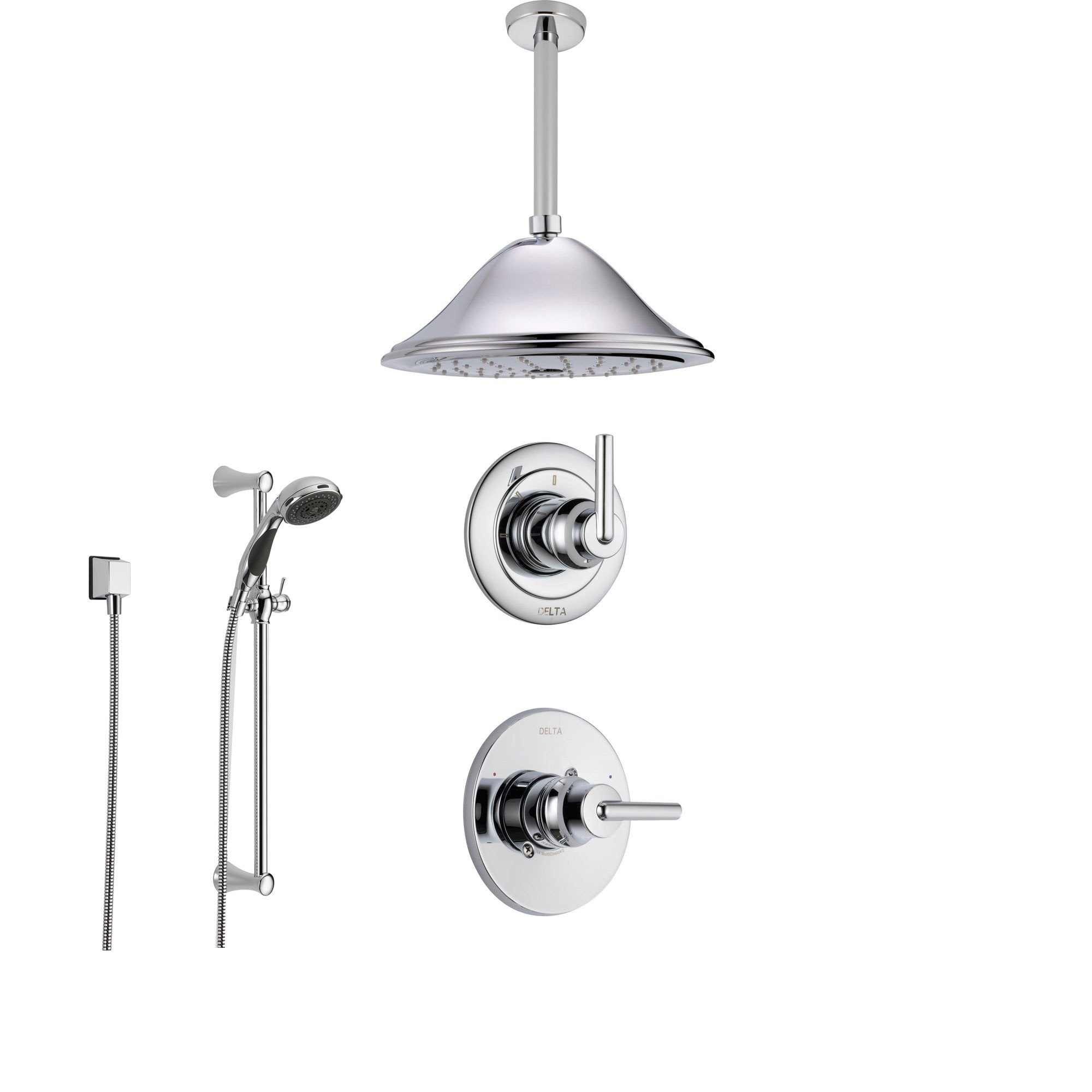 Delta Trinsic Chrome Shower System with Normal Shower Handle, 3-setting Diverter, Large Ceiling Mount Rain Showerhead, and Hand Shower SS145982
