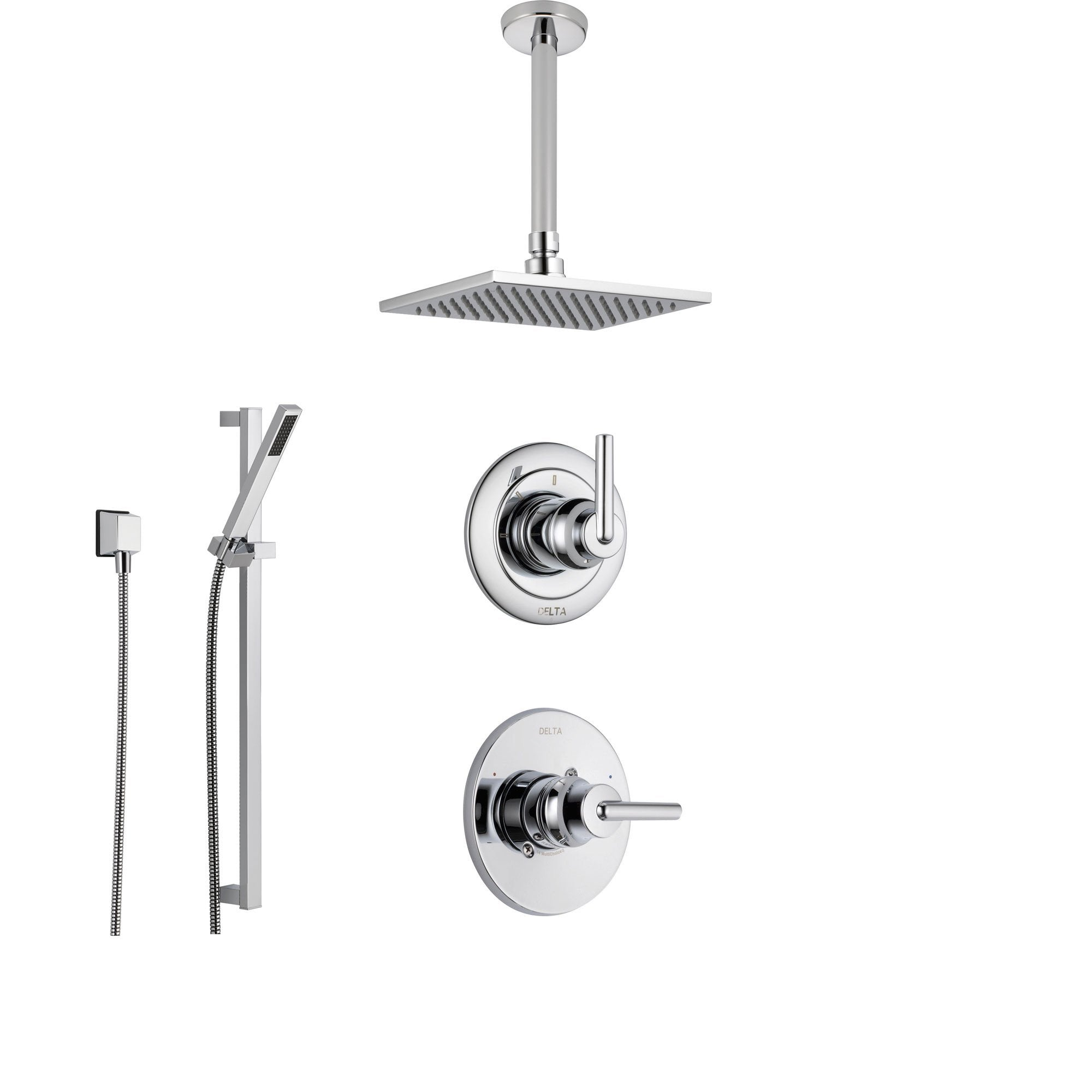 Delta Trinsic Chrome Shower System With Normal Shower Handle 3 Setting Diverter Ceiling Mount Large Rain Showerhead And Handheld Spray Ss145985