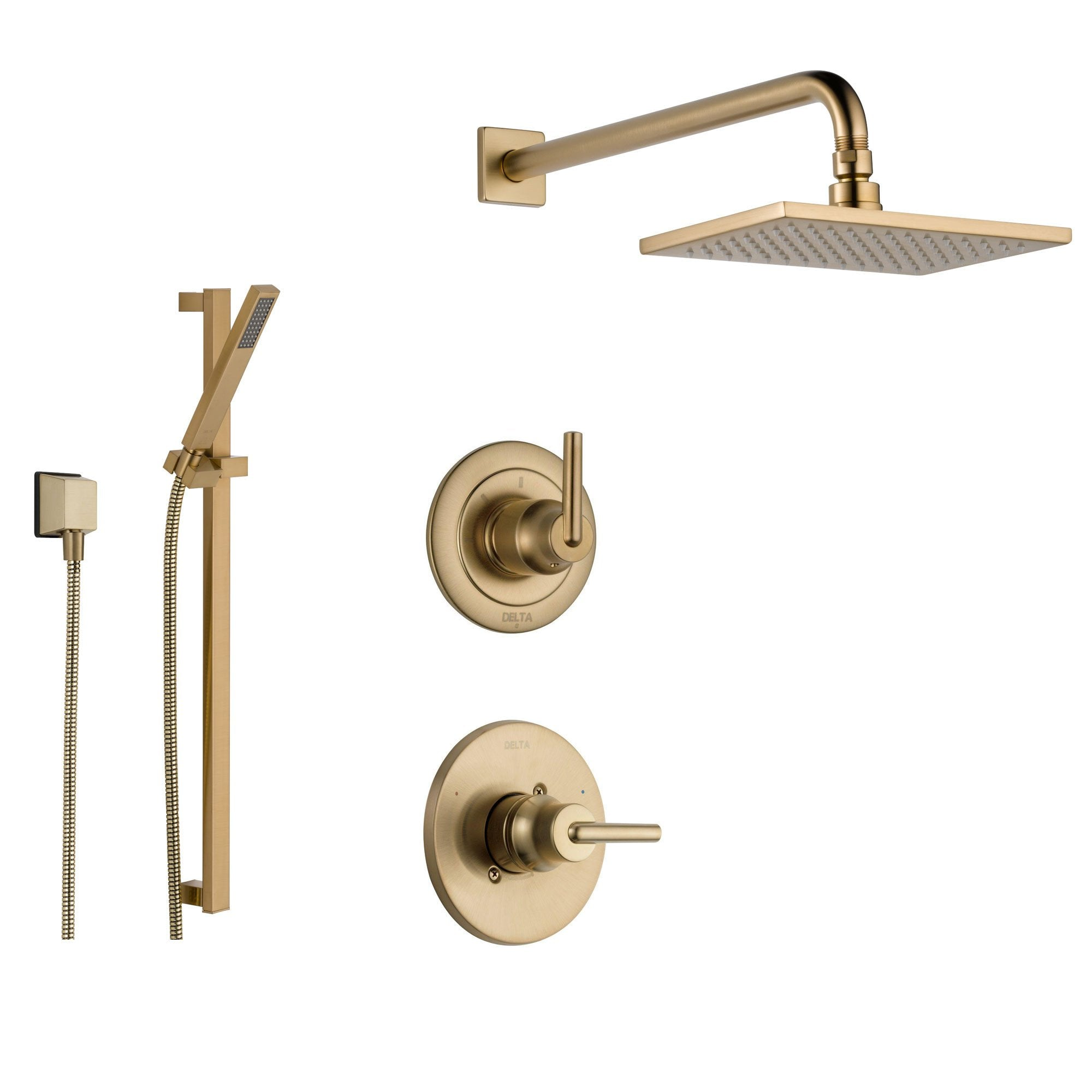Delta Trinsic Champagne Bronze Shower System With Normal Shower Handle 3 Setting Diverter Large Square Modern Rain Showerhead And Handheld Shower