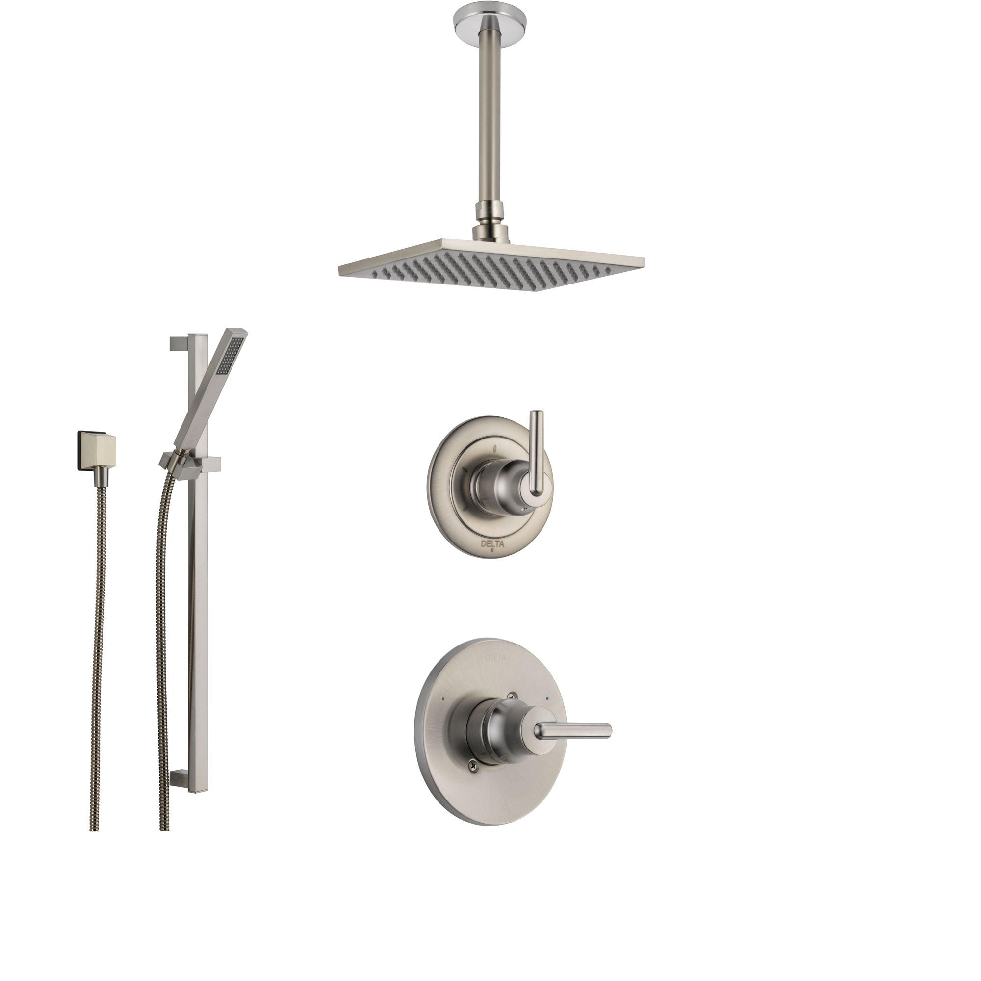 Delta Trinsic Stainless Steel Shower System with Normal Shower Handle, 3-setting Diverter, Modern Square Ceiling Mount Showerhead, and Hand Shower Spray SS145985SS